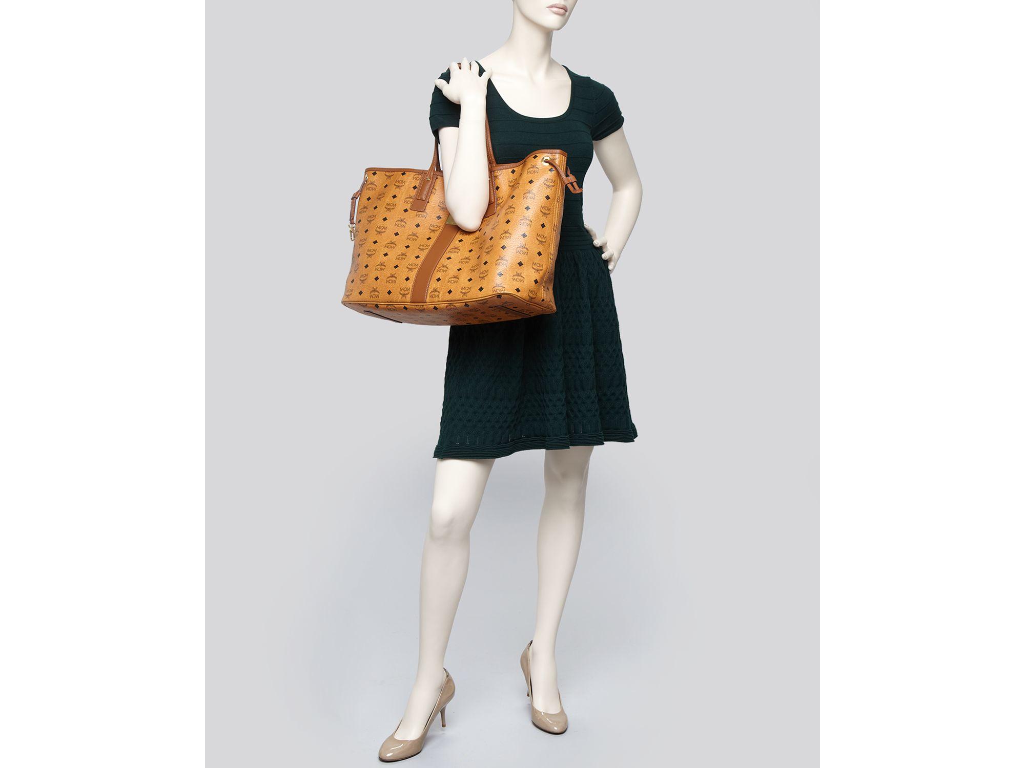 mcm tote heritage liz reversible shopper large in brown. Black Bedroom Furniture Sets. Home Design Ideas