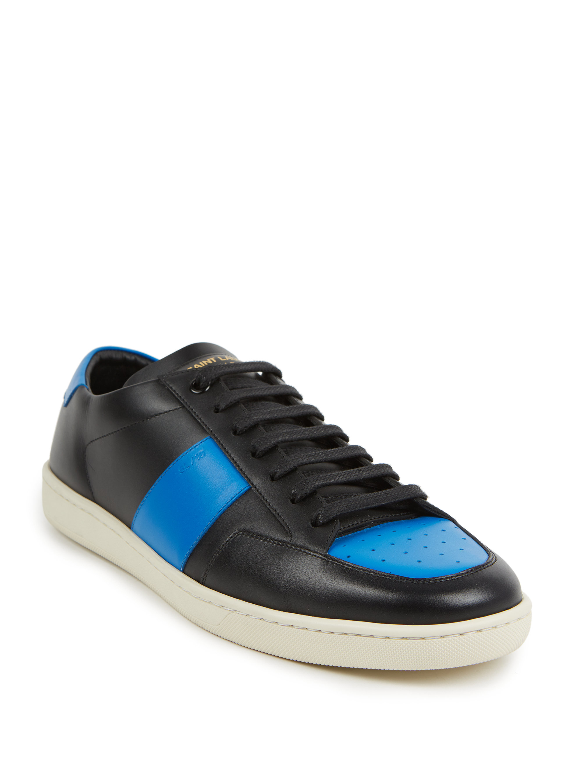 saint laurent colorblock leather sneakers in blue for men lyst. Black Bedroom Furniture Sets. Home Design Ideas