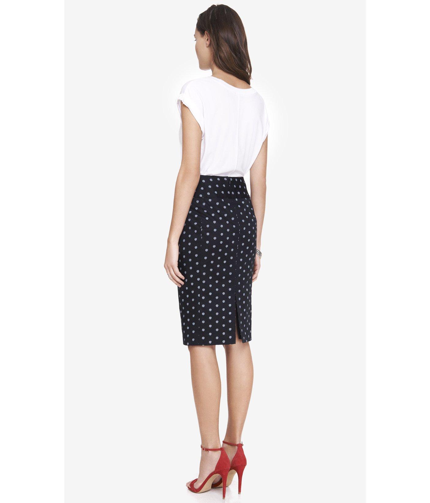 express paisley dot high waist midi pencil skirt in black