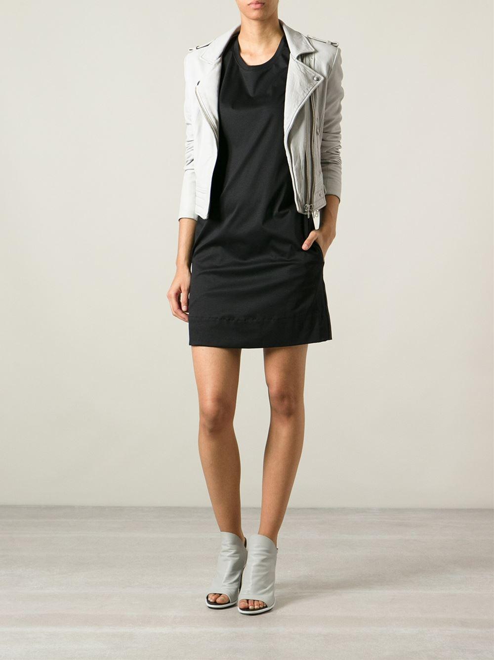 helmut lang jersey t shirt dress in black lyst. Black Bedroom Furniture Sets. Home Design Ideas