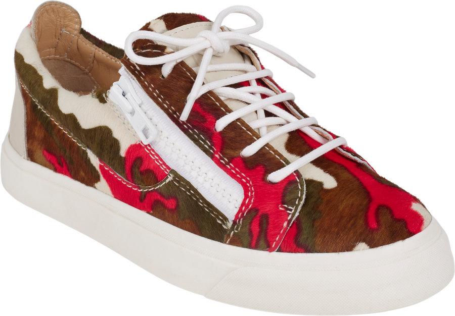 giuseppe zanotti camo haircalf doublezip sneakers in pink