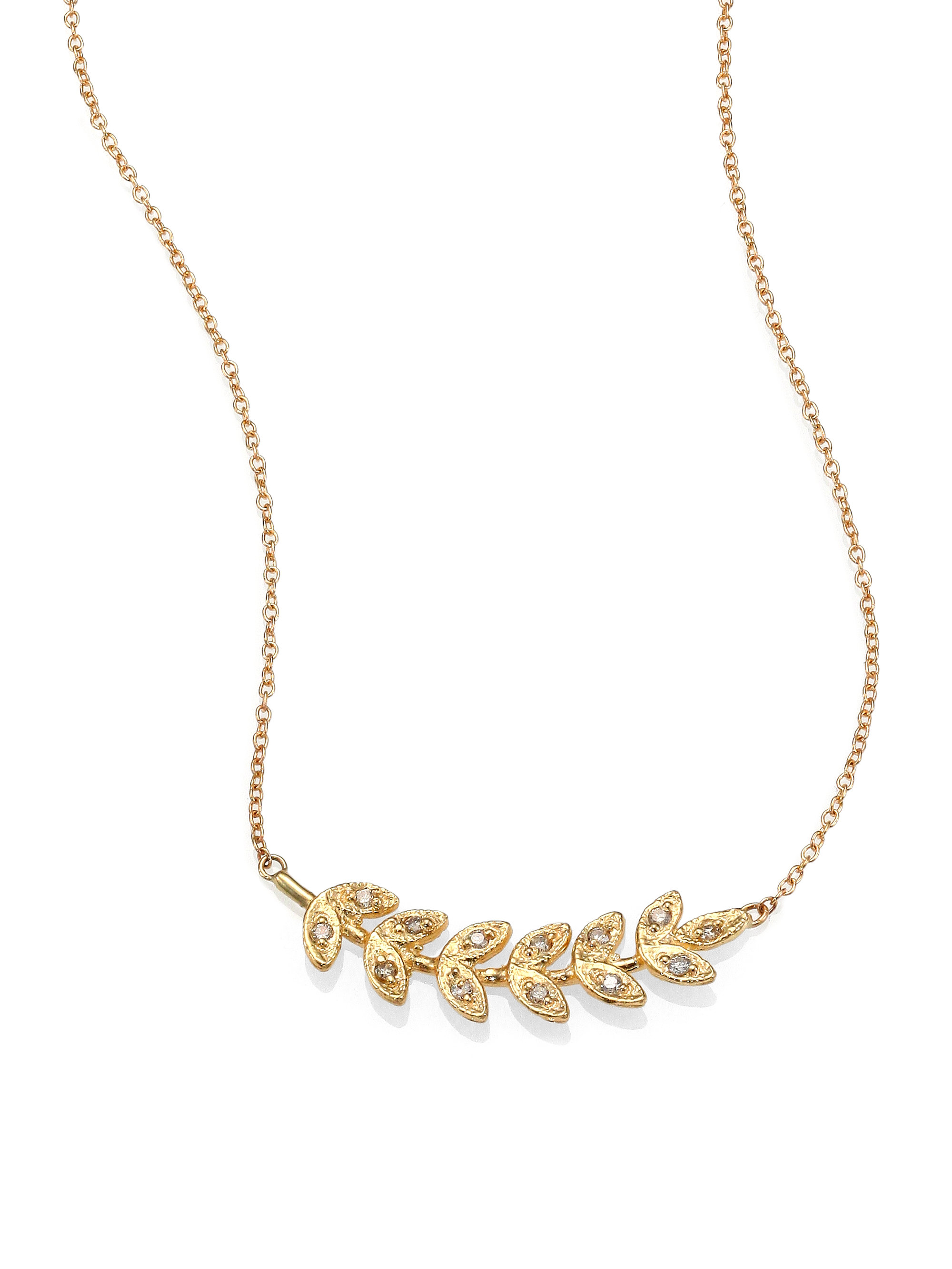 Diamond & yellow-gold necklace Jacquie Aiche jqzyBR