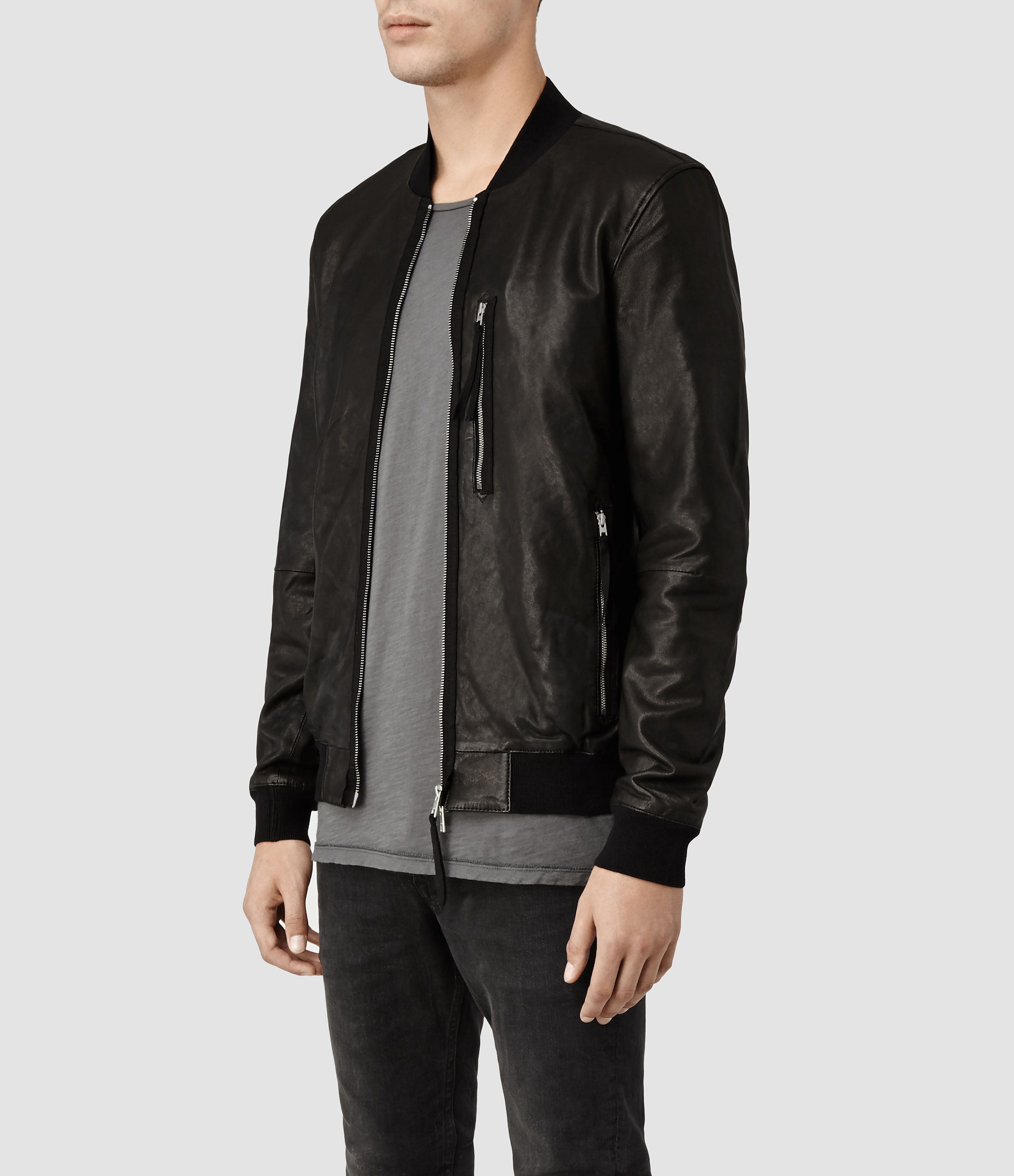 Allsaints Blenham Leather Bomber Jacket in Black for Men | Lyst