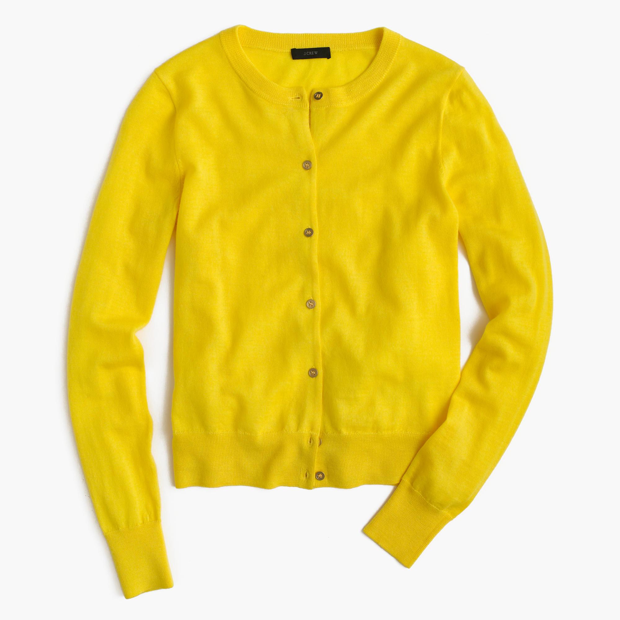 e75860a19878 J.Crew Lightweight Wool Jackie Cardigan Sweater in Yellow - Lyst