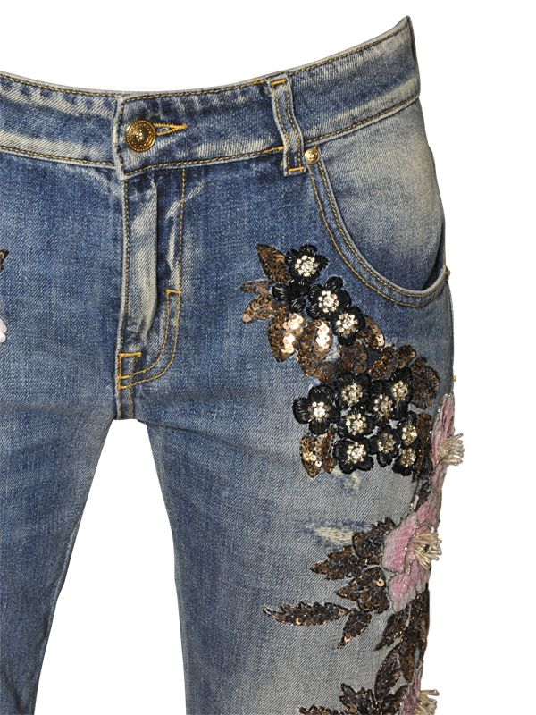 Lyst Amen Couture Embellished Cotton Denim Jeans In Blue