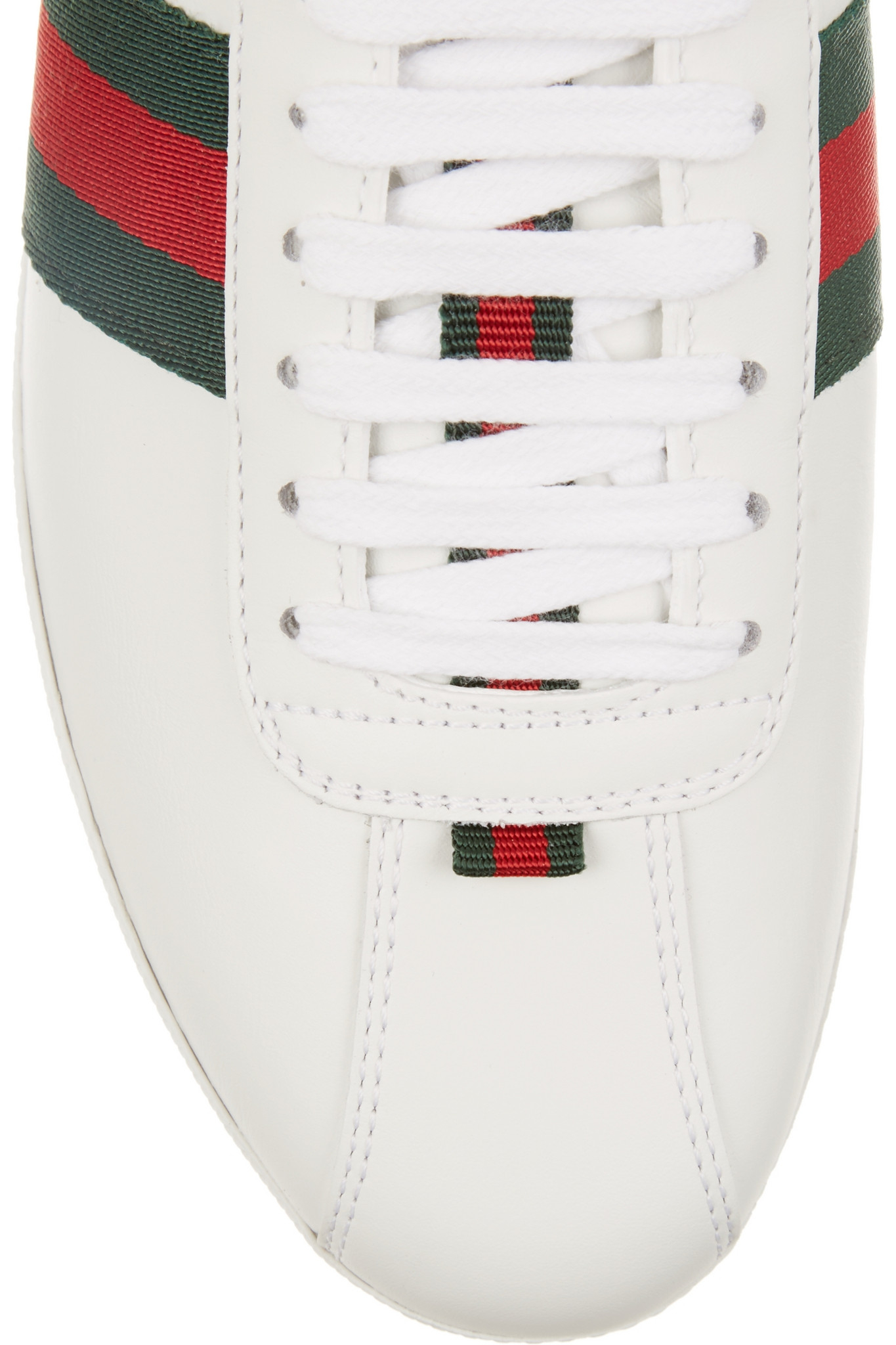 6c742b5a7 Gucci New Ace Watersnake-trimmed Leather Sneakers in White - Lyst