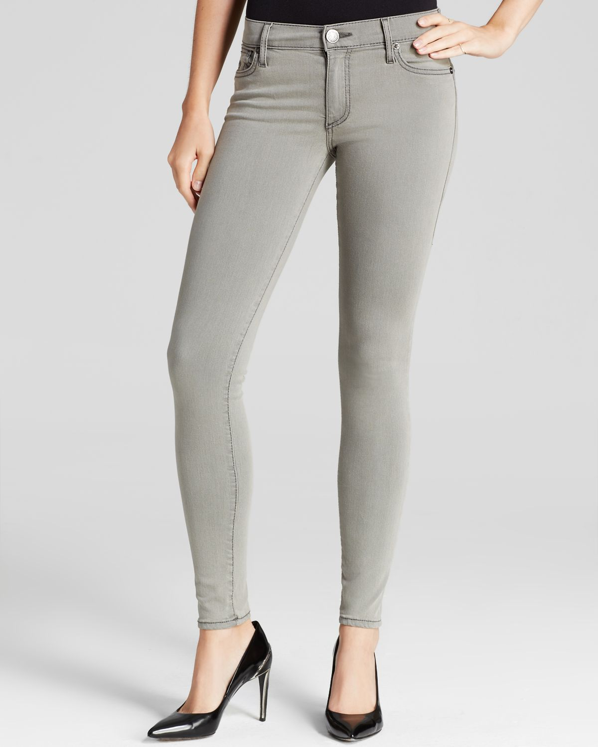 It's always prime time when you're in this pair of super skinny jeans! Styling includes tonal stitching, 5-pocket design, mid-rise waist, and minimal tonal hardware.