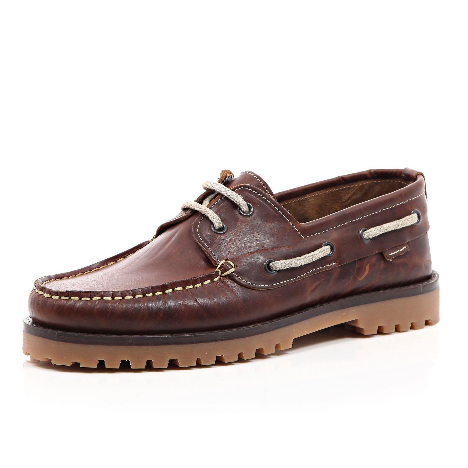 river island brown leather cleated sole boat shoes in