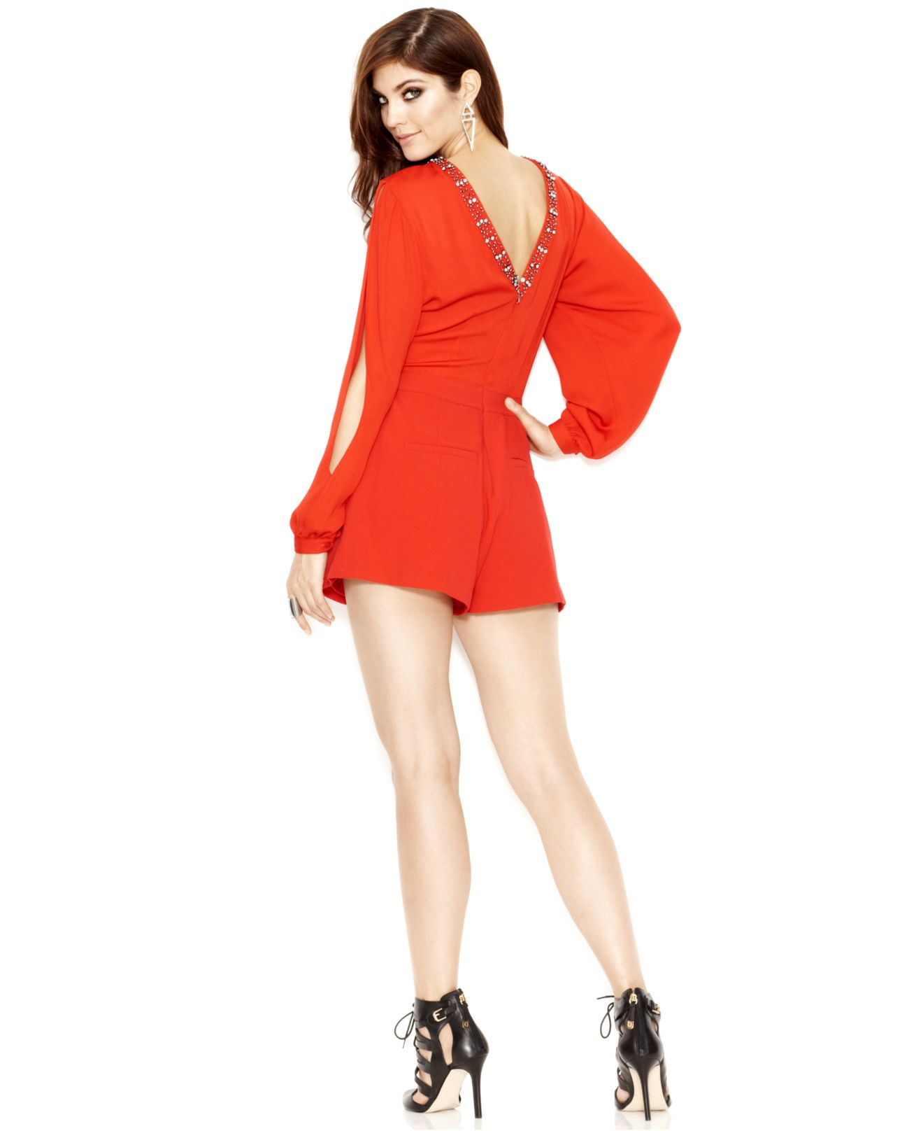 0cfd82a7a79f Lyst - Guess Long-Sleeve Embellished V-Back Romper in Red