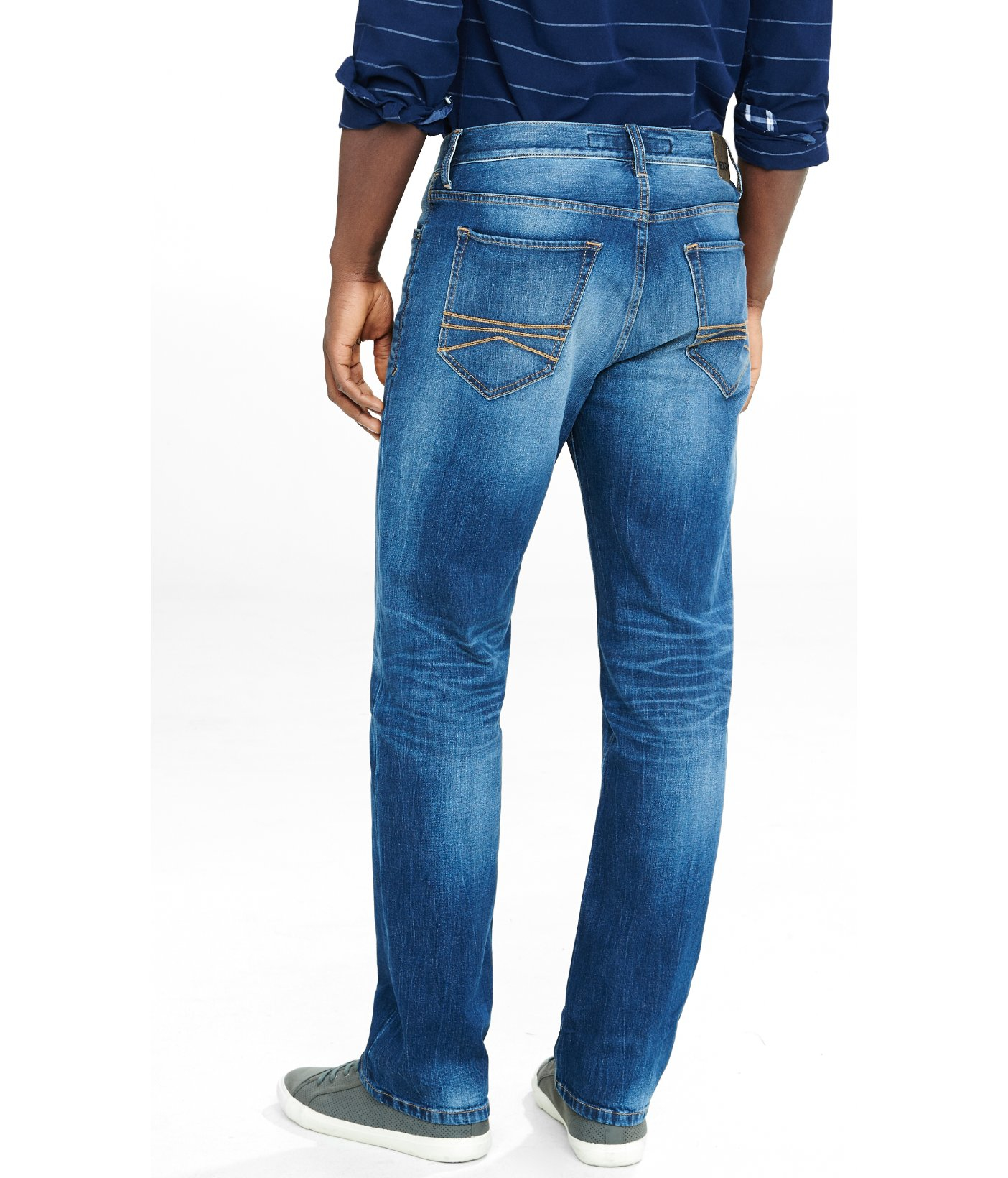 lyst express straight leg loose fit flex stretch jeans in blue for men. Black Bedroom Furniture Sets. Home Design Ideas