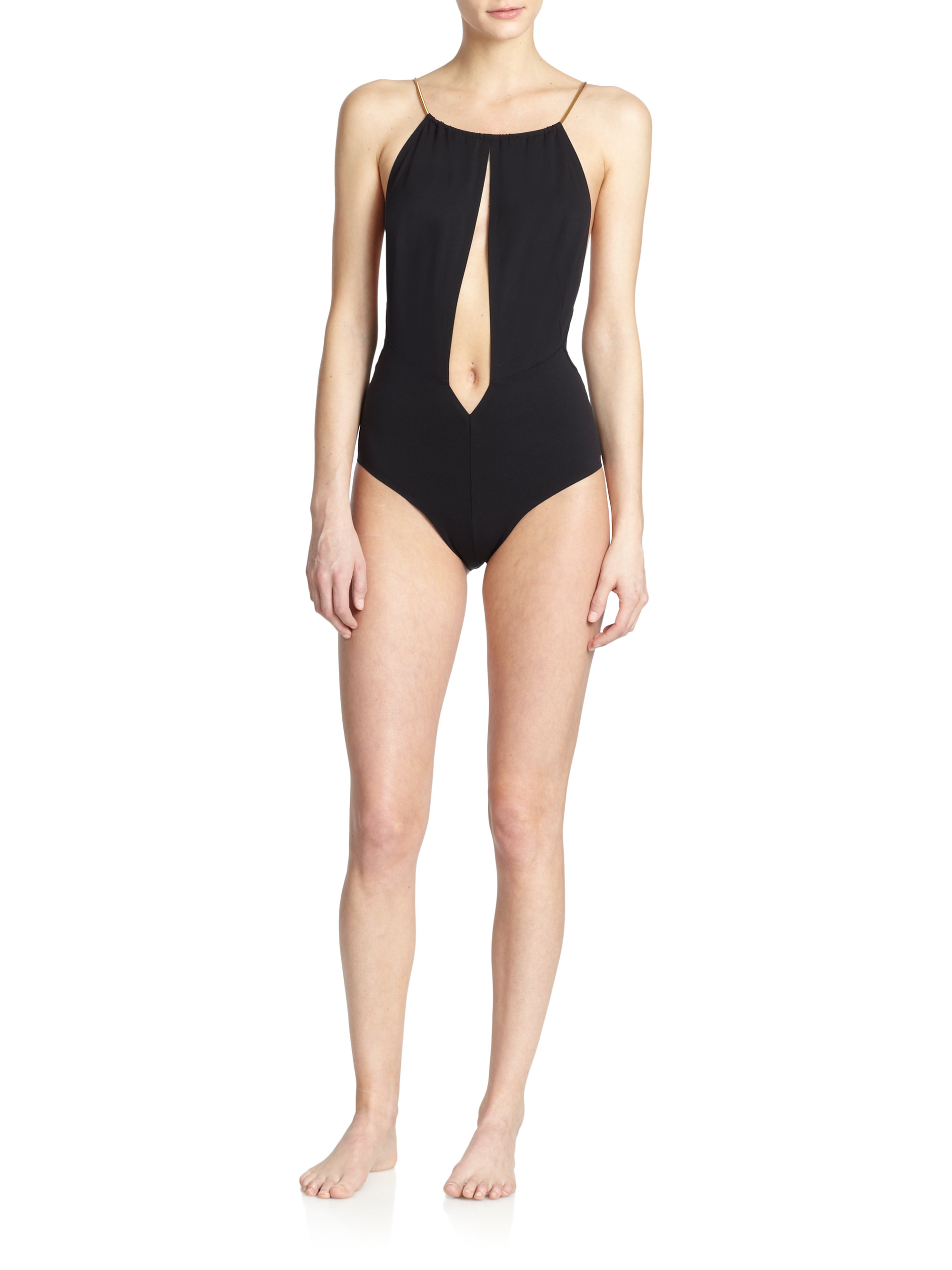 40edadbf8fa La Perla One-piece Eclipse Plunge Swimsuit in Black - Lyst