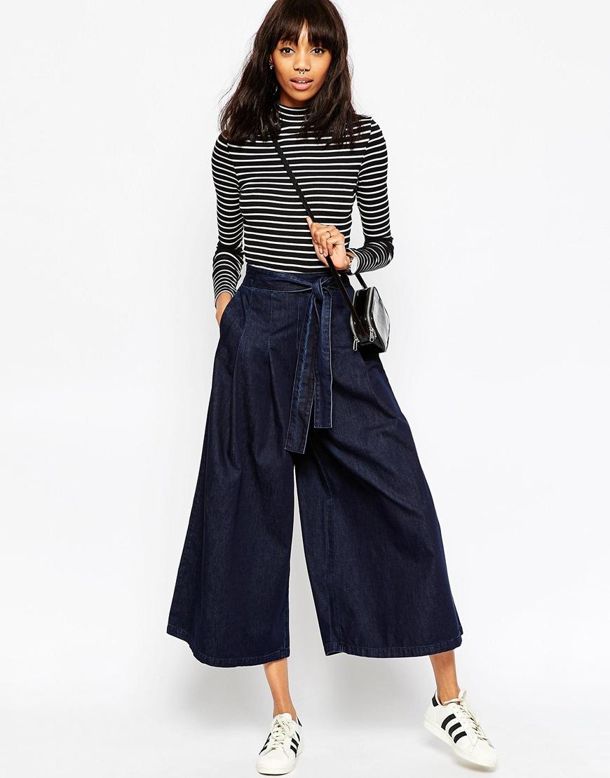 Asos Denim Super Wide Leg Jeans With Tie Waist In Indigo in Blue ...