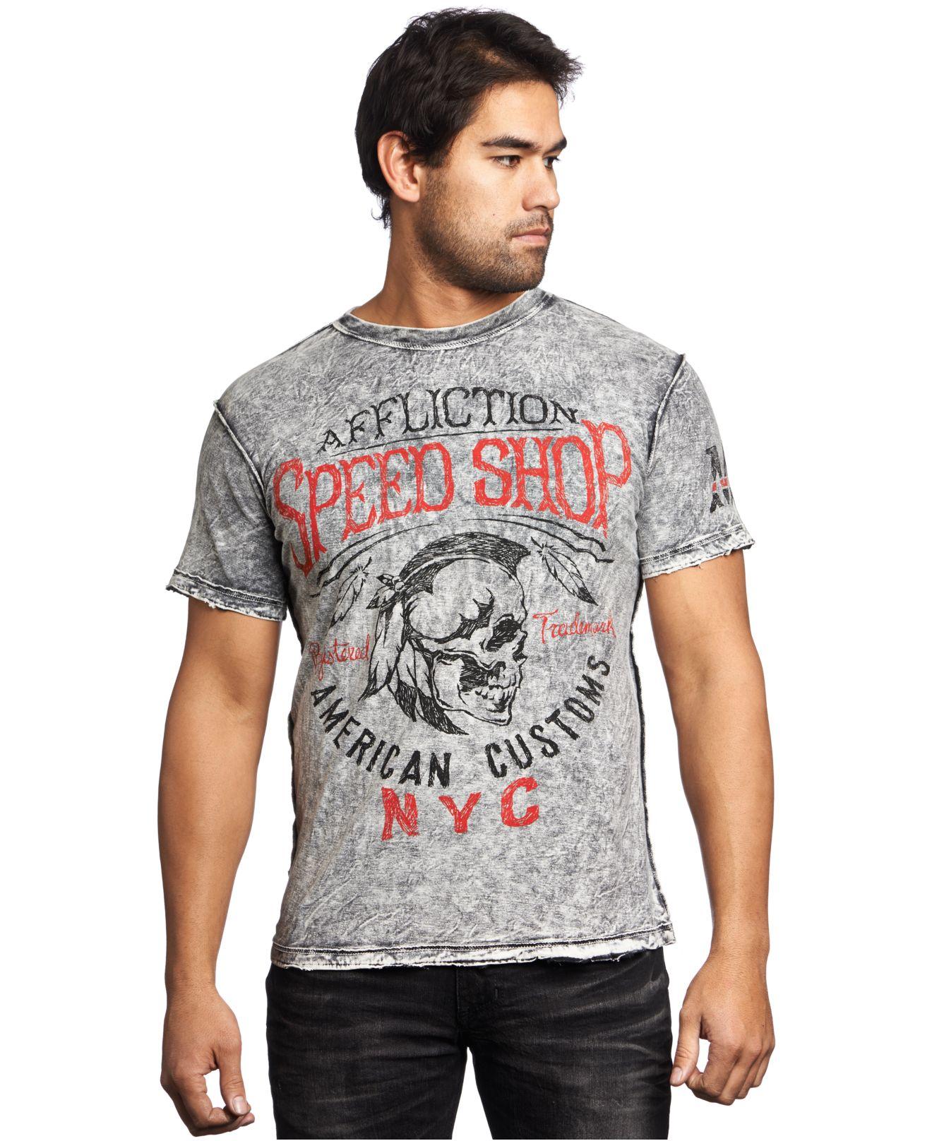 Affliction Reversible Motor Oil T Shirt In Black For Men