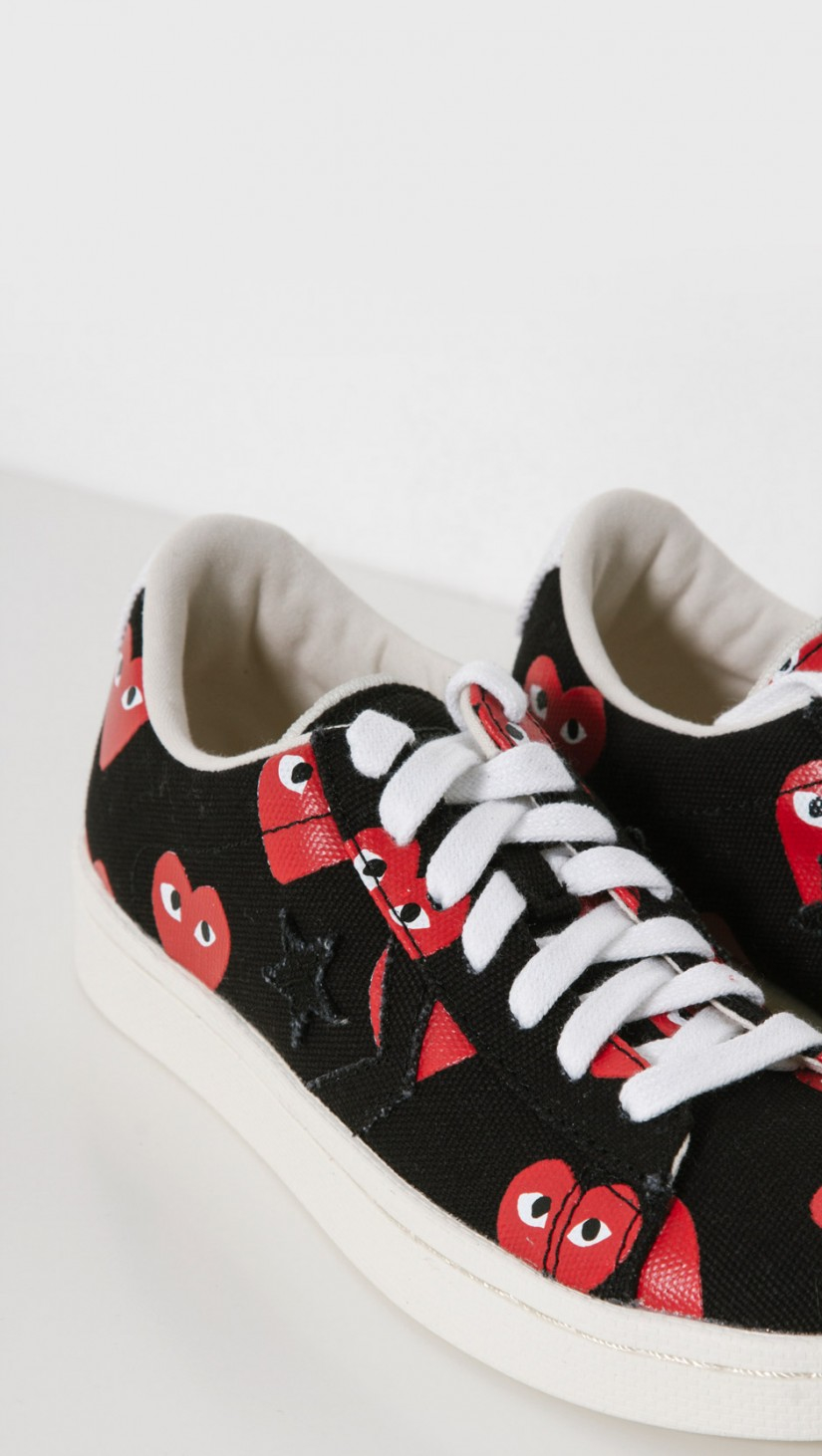 Play Comme des Garçons Play Converse Pro Leather Low in Black - Lyst b3c45c870
