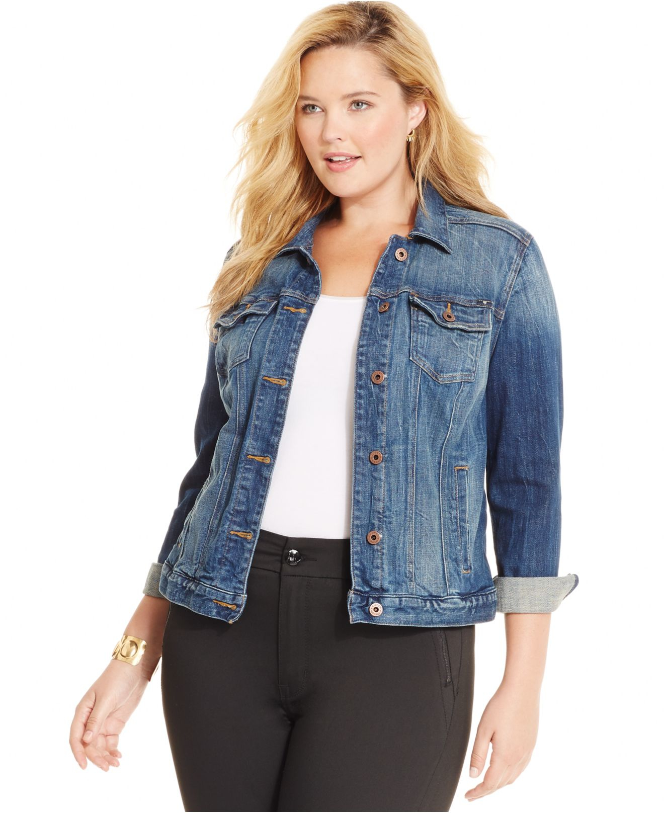 Lucky brand Jeans Plus Size Denim Jacket in Blue | Lyst