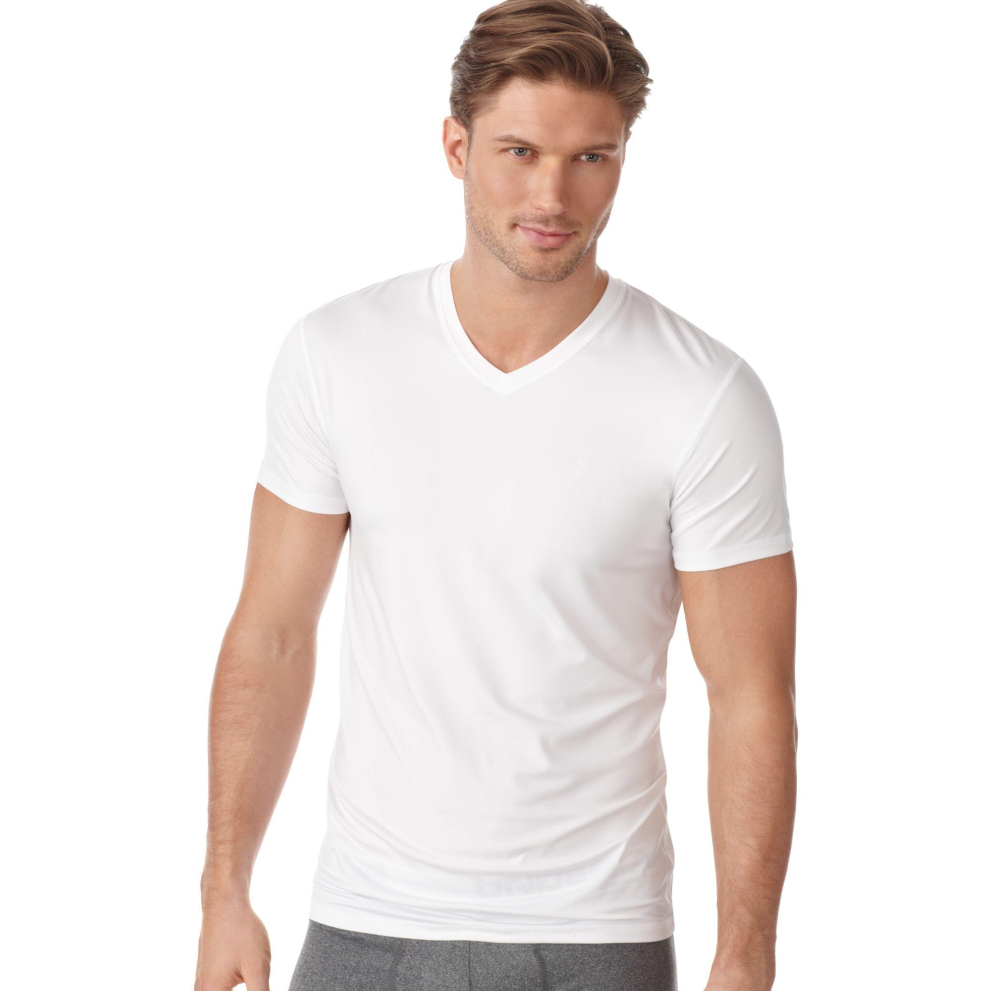 Under armour original series vneck tee in white for men lyst for Original under armour shirt