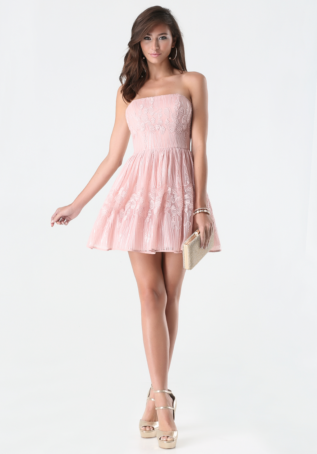Bebe Sequin Strapless Dress in Pink | Lyst
