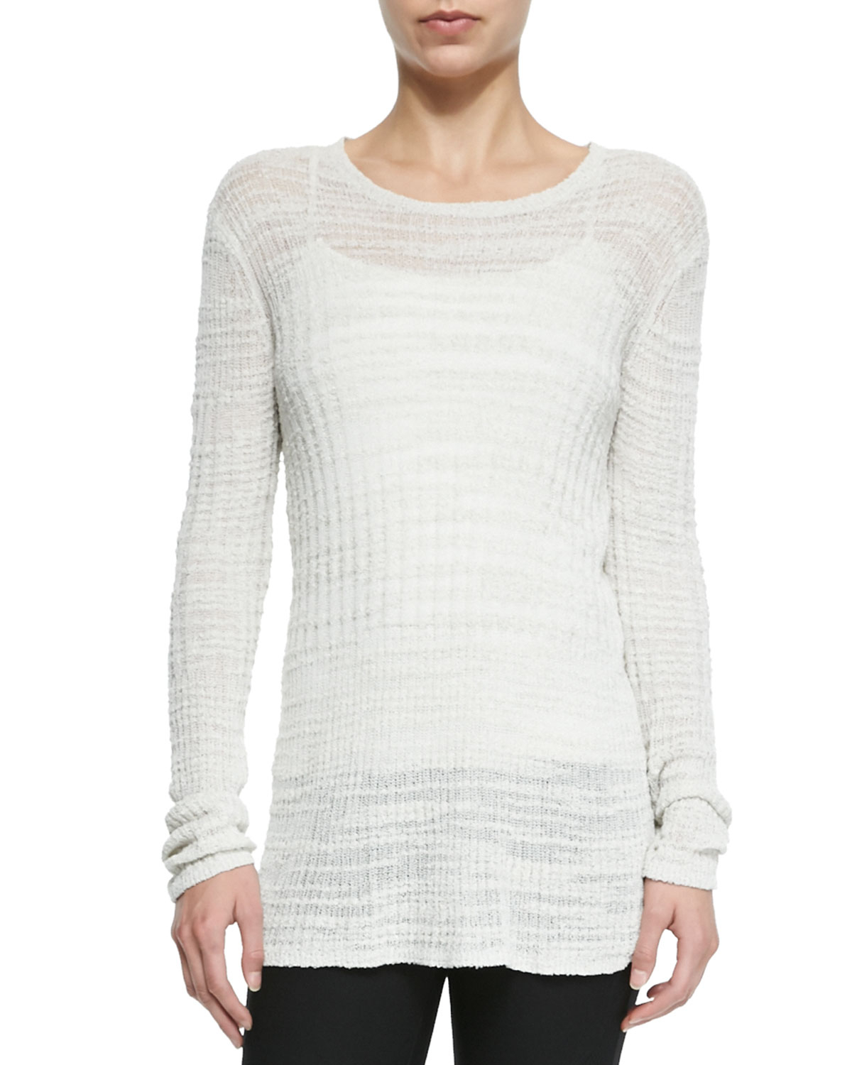 39f4c8265c4bd7 Lyst - Helmut Lang Lightweight Knit See-Through Sweater in White