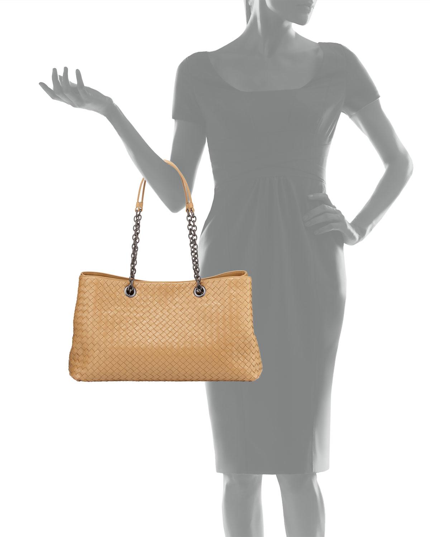 Lyst - Bottega Veneta Intrecciato Double Chain Tote Bag in Brown 81ac0a97d6727
