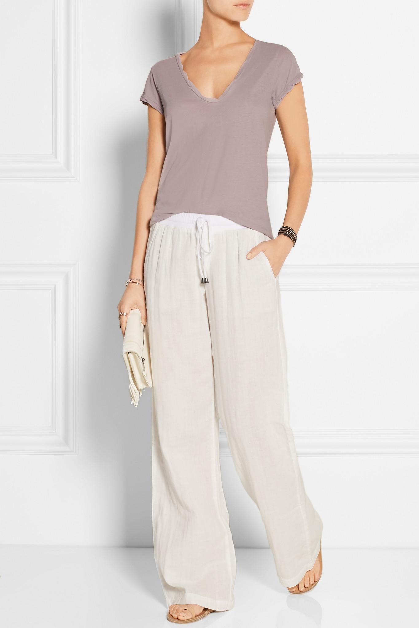082a7483931 Splendid Cotton-gauze Wide-leg Pants in White - Lyst