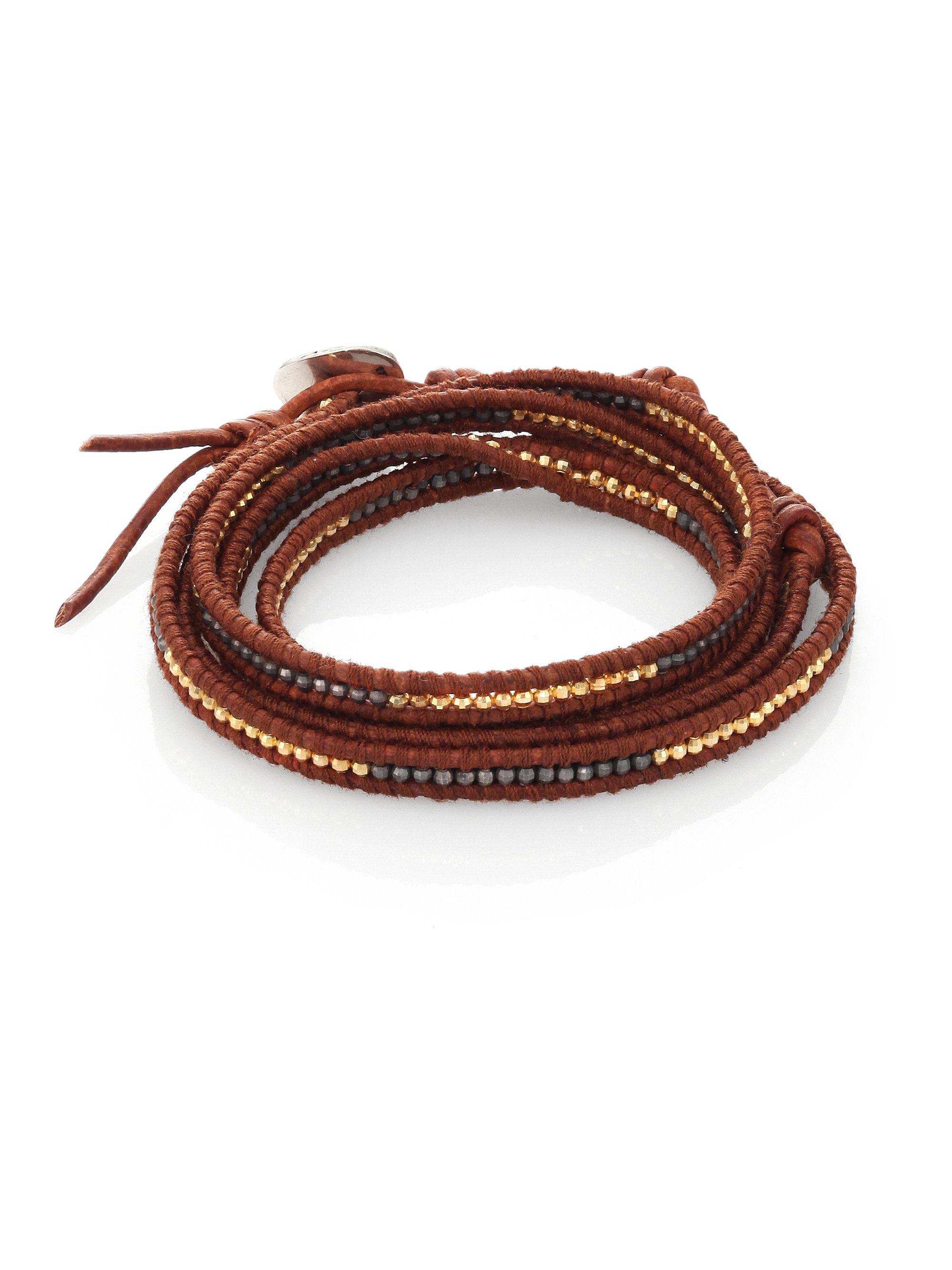 chan luu two tone beaded leather multi row wrap bracelet