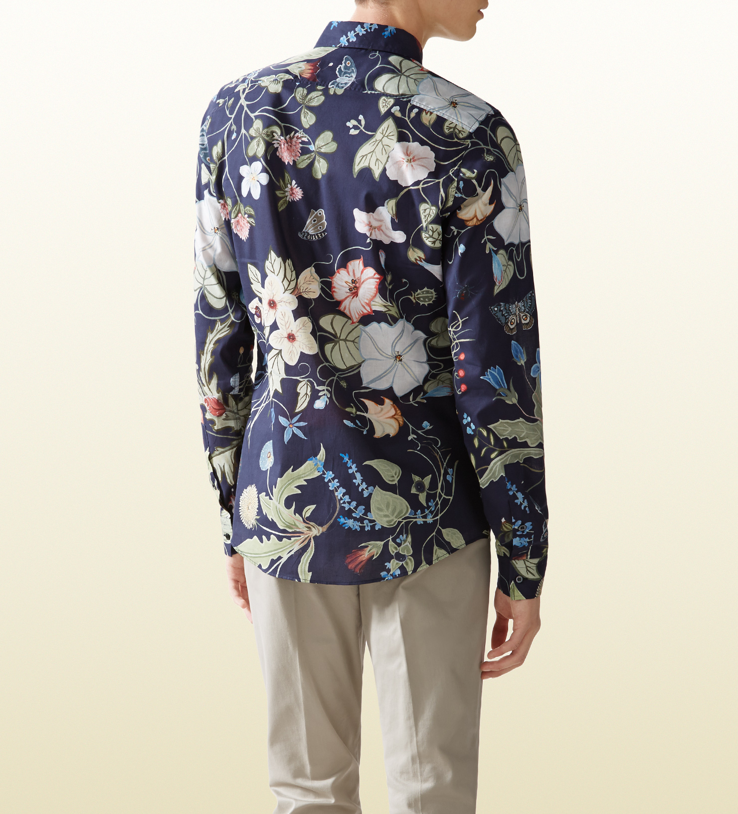 Gucci floral print shirt in blue for men lyst for Gucci t shirts online india