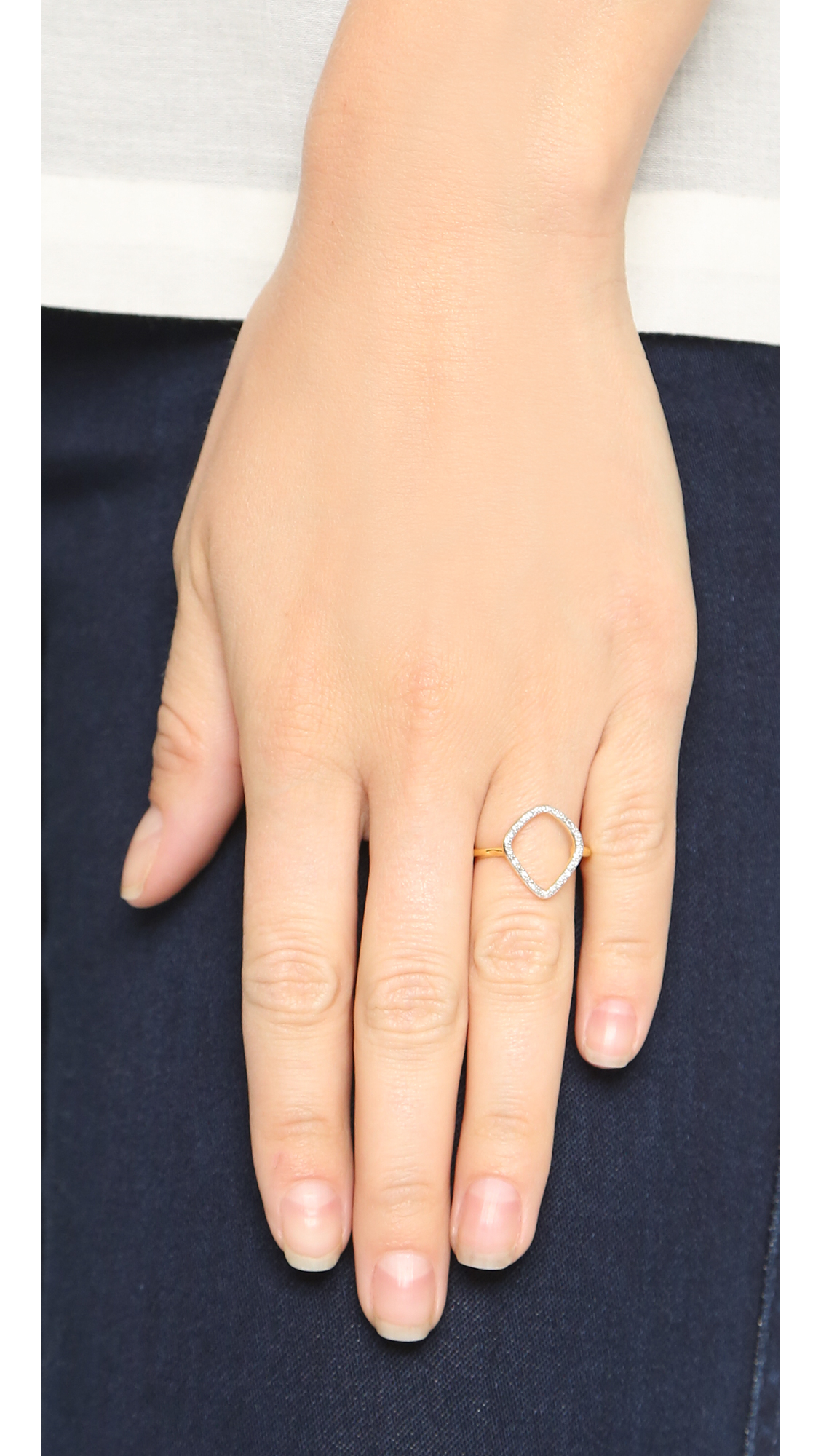 Gold Riva Mini Kite Stacking Ring Diamond Monica Vinader 11uo0hChh