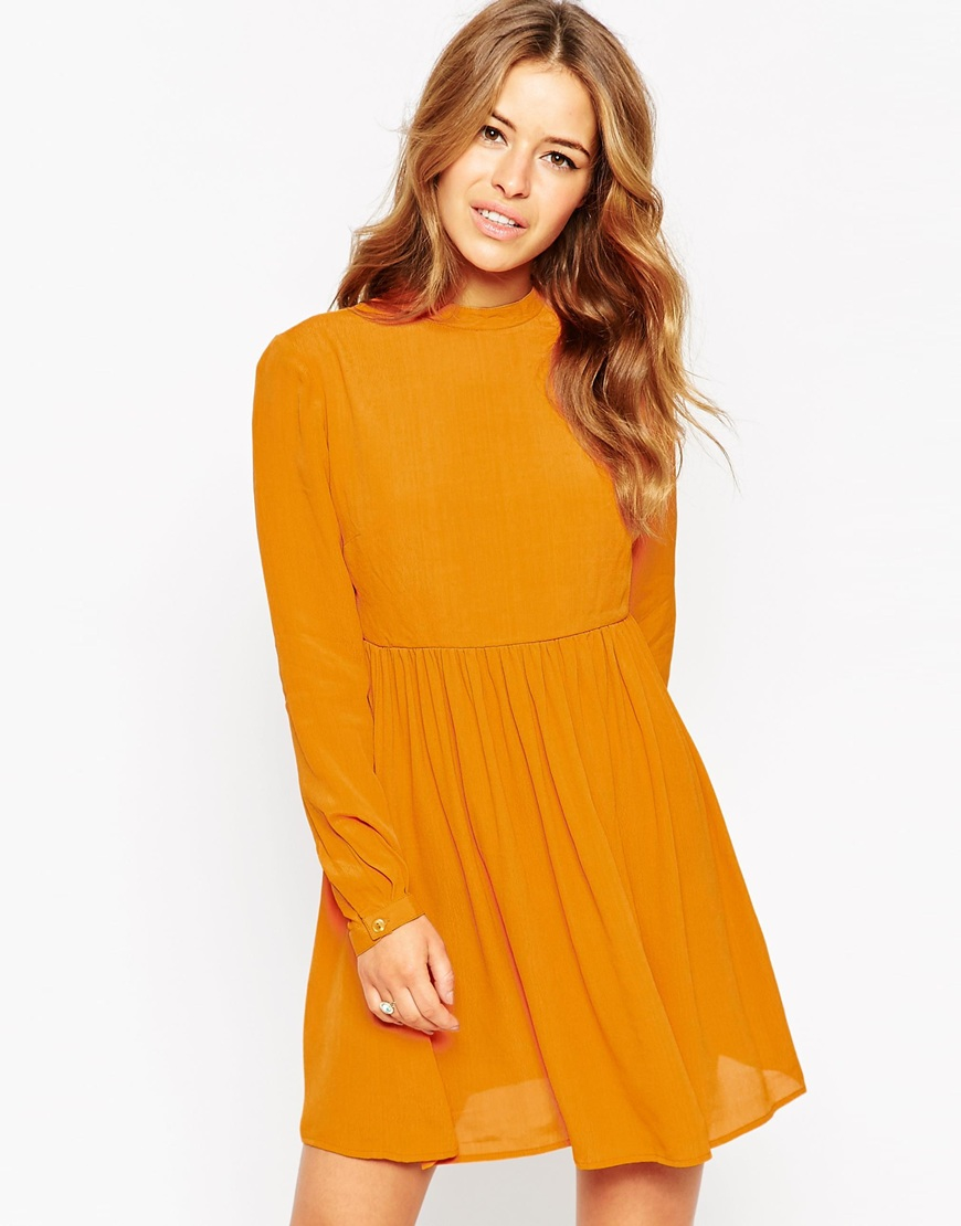 032509d5a7 Lyst - ASOS Petite Skater Dress With Lace Up Back in Yellow