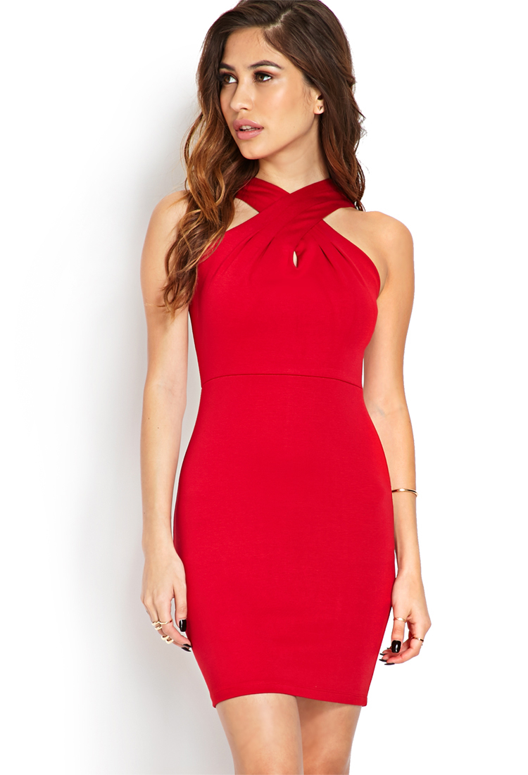 Forever 21 Flatter Me Fitted Dress in Red | Lyst