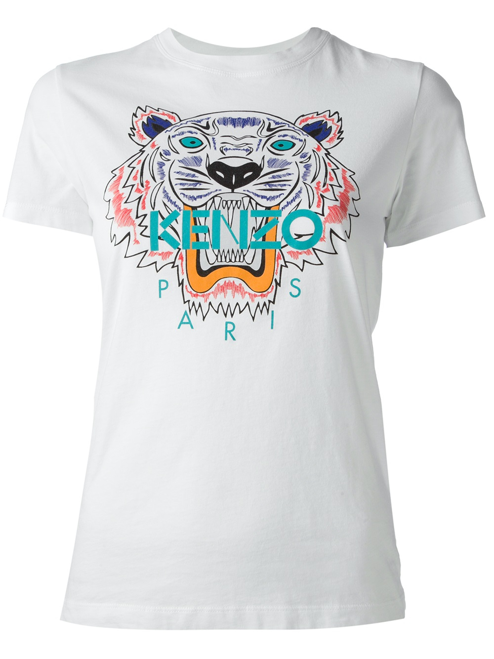 kenzo tiger logo print t shirt in white lyst. Black Bedroom Furniture Sets. Home Design Ideas