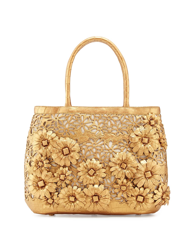 nancy gonzalez panama floral cutout straw basket tote bag