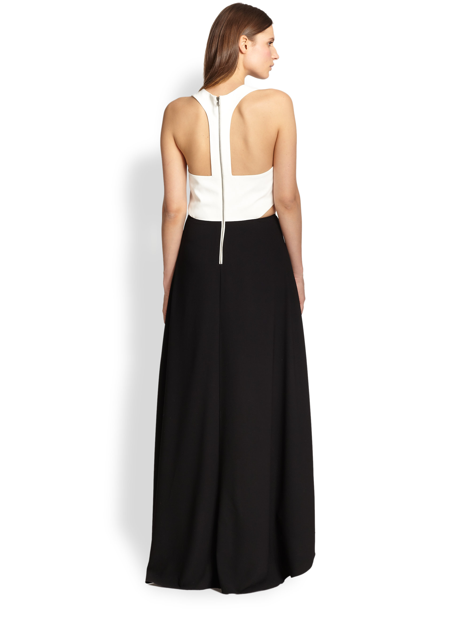 Alice + olivia Cutout Racerback Maxi Dress in Black | Lyst