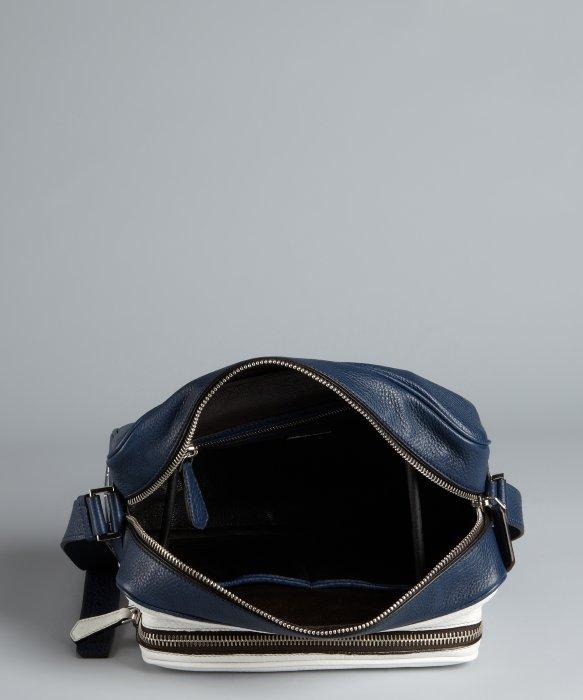 Prada Baltic Blue and White Pebbled Leather Crossbody Retro Style ... - prada weekender baltic blue