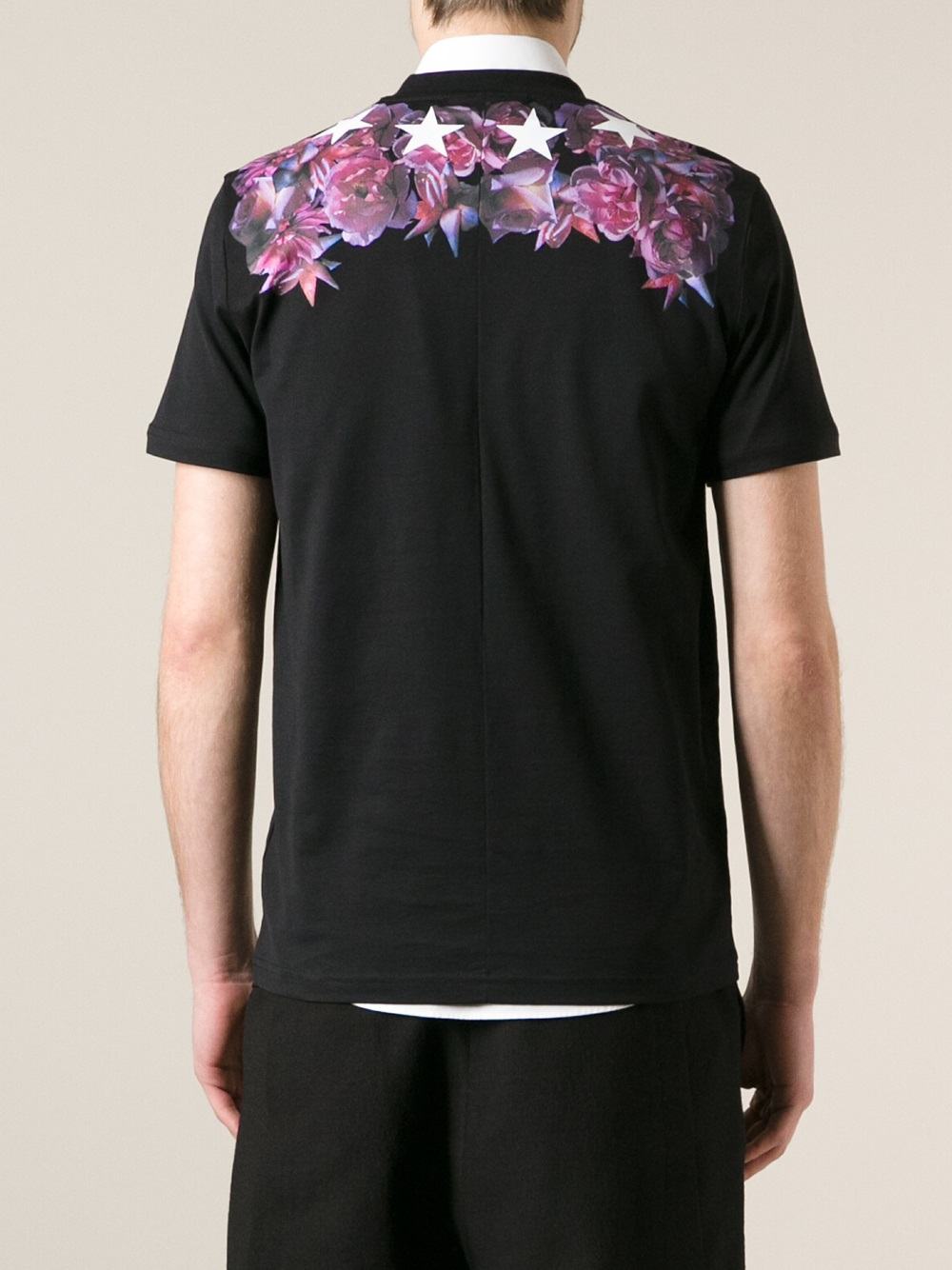 Givenchy Flower And Star Print Tshirt In Black For Men Lyst