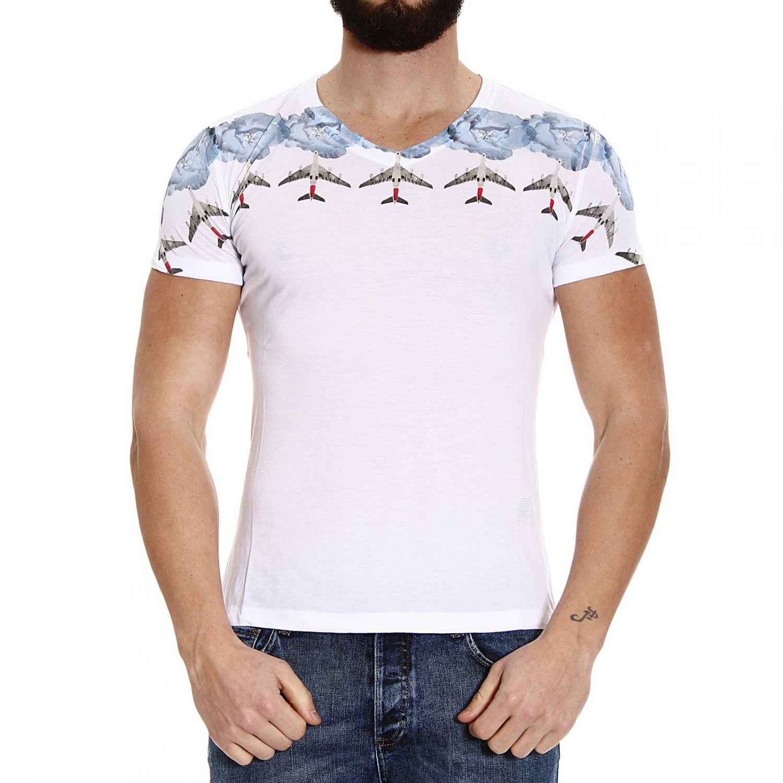 John richmond t shirt half sleeve v print aerei in white for T shirt printing richmond va
