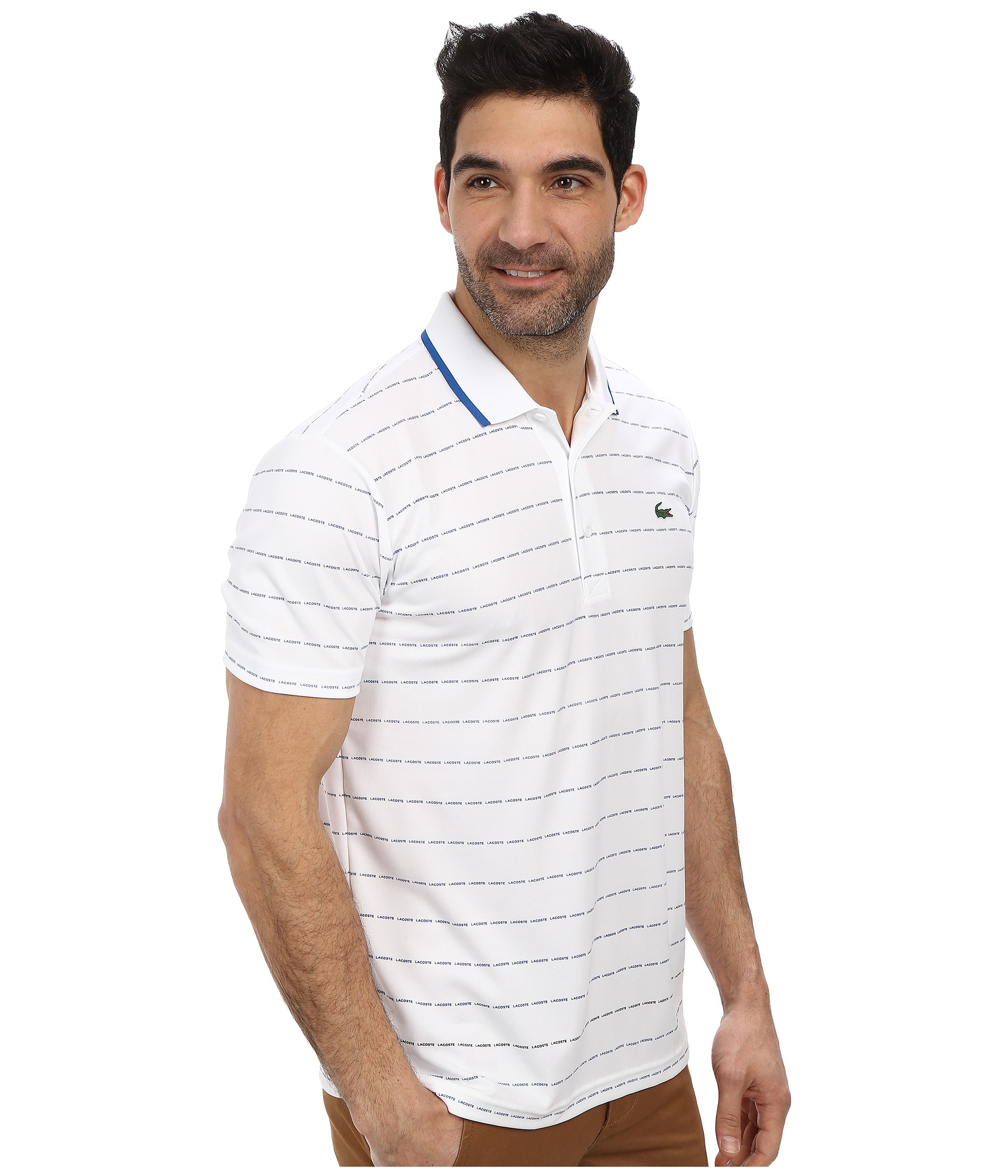 Lacoste sport pique ultra dry stripe polo in white for men for Lacoste stripe pique polo shirt