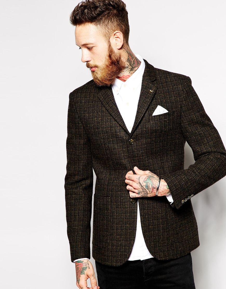 asos slim fit blazer in 100 wool in brown for men lyst. Black Bedroom Furniture Sets. Home Design Ideas