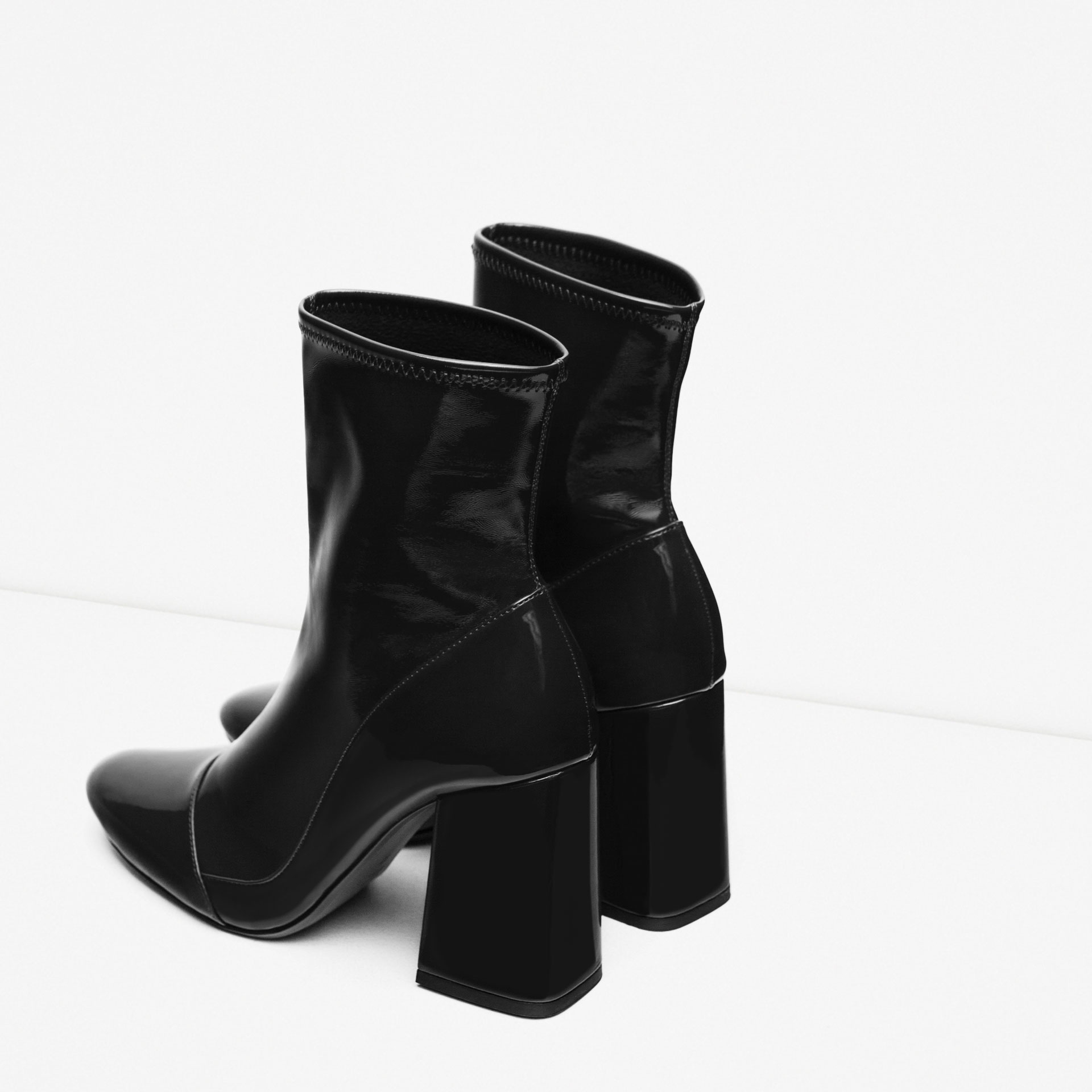 Zara High Heel Sock Style Ankle Boots in Black | Lyst