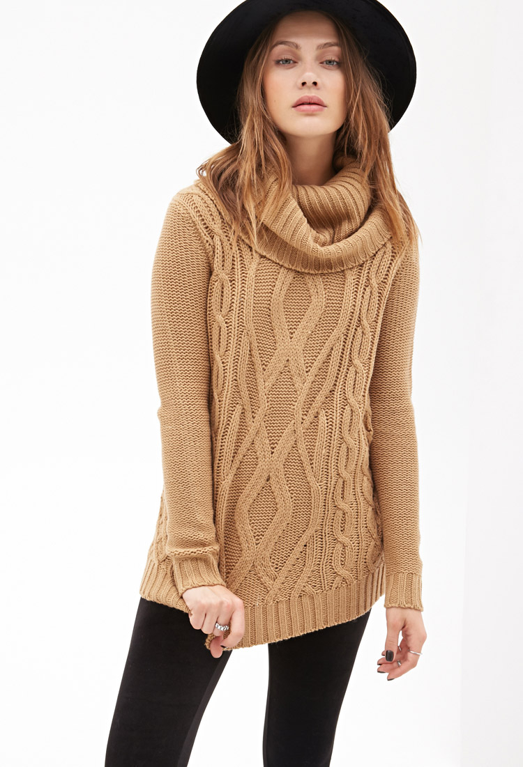 Forever 21 Turtleneck Cable Knit Sweater in Natural | Lyst