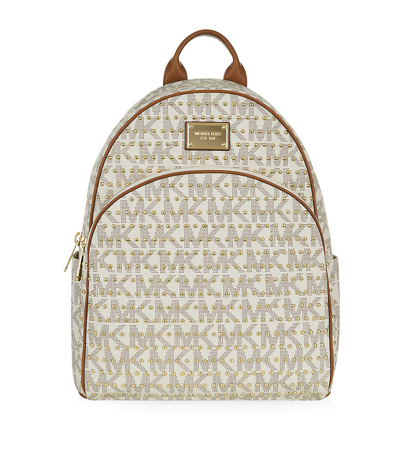 4ac77ef79a21 MICHAEL Michael Kors Large Jet Set Studded Backpack in Natural - Lyst