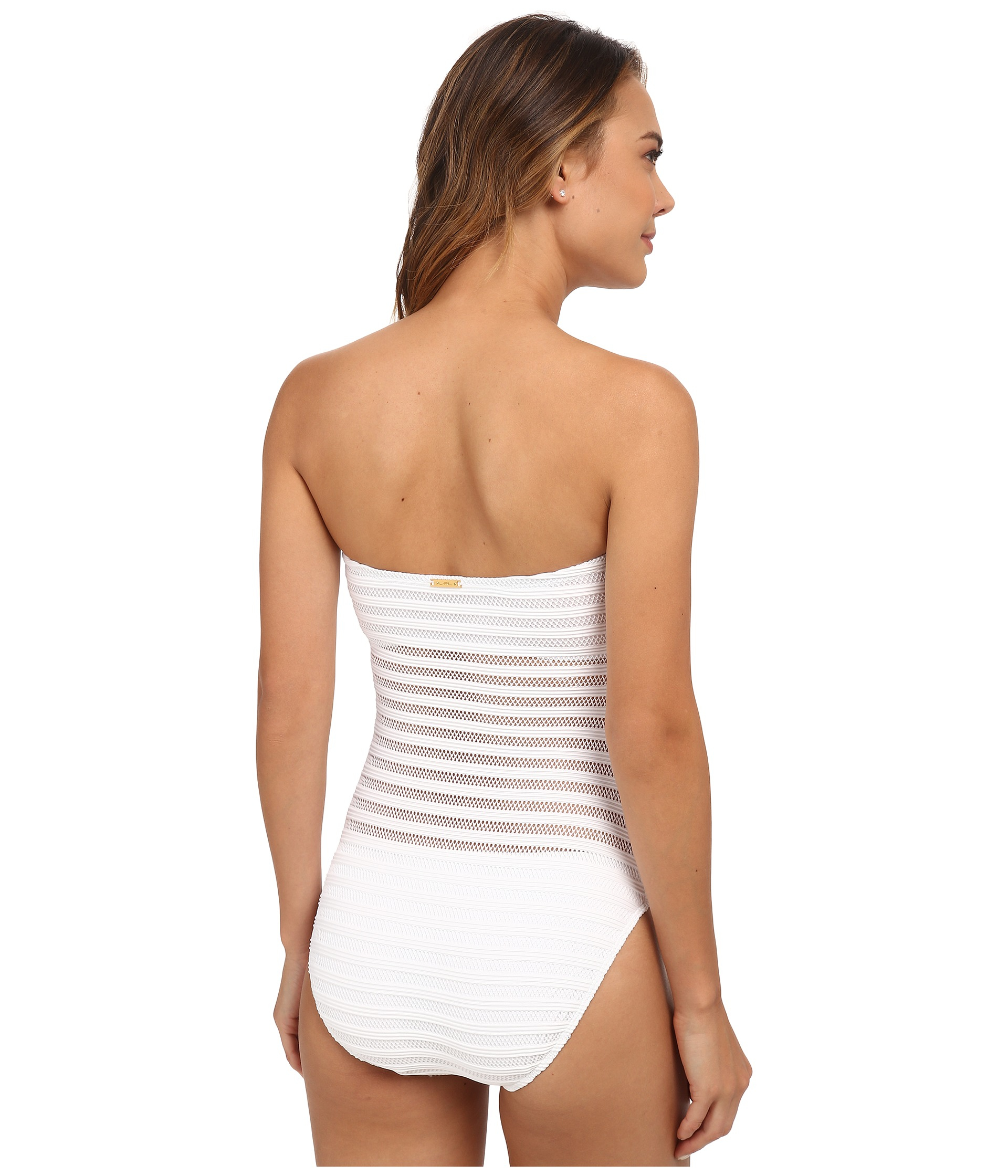 Lyst - Lauren By Ralph Lauren Ottoman Mesh Strapless One-piece W/ Soft Cup  And Sport Logo Plate in White