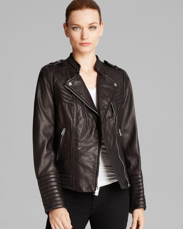 00802d8f2069 Lyst Michael Kors Jacket Asymmetric Moto Leather In Black