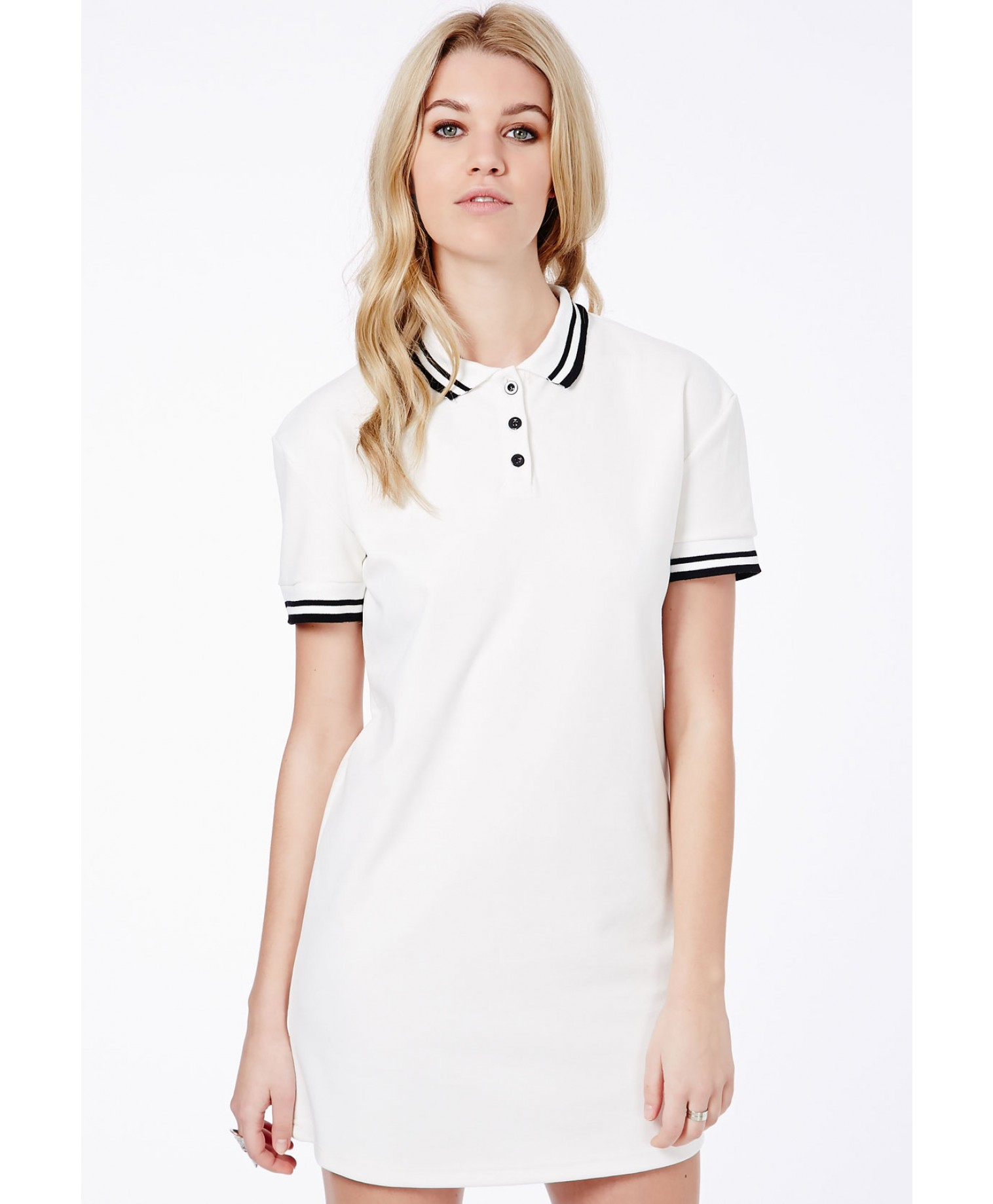 Lyst - Missguided Adela Oversized Polo Tshirt Mini Dress ...