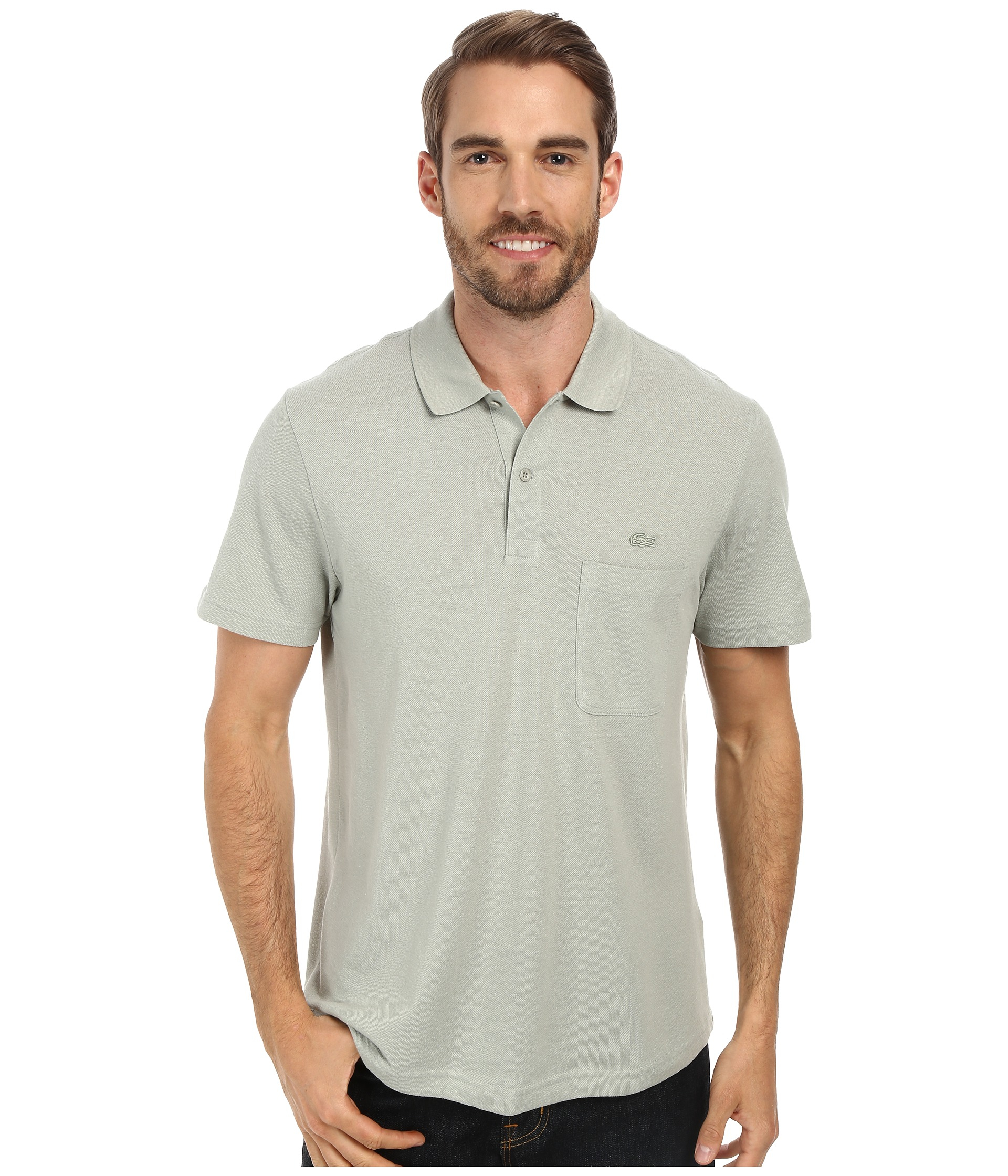 Lacoste Cotton Linen Polo With Pocket In Green For Men Lyst