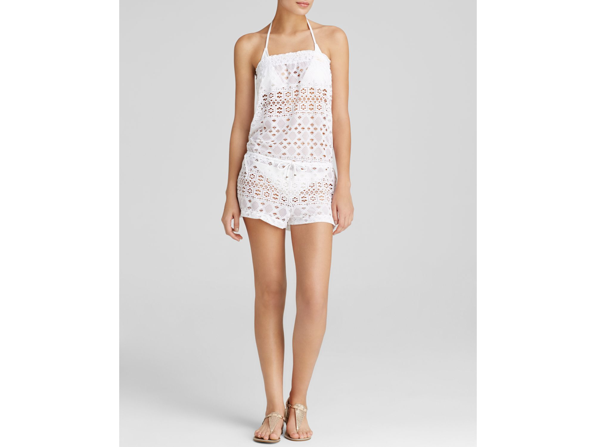 0a9a97e48c27f Ralph Lauren Polo Crochet Swim Cover Up Romper in White - Lyst