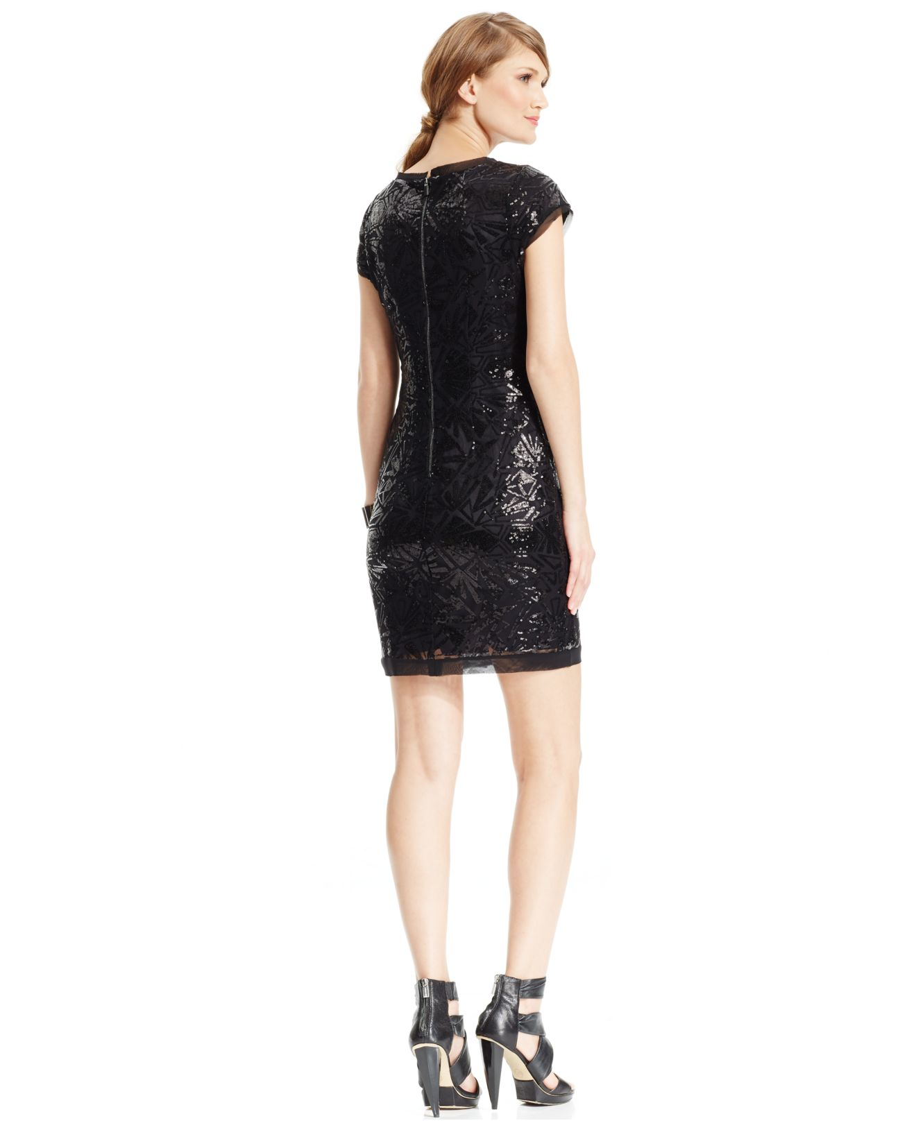 e42fd53a Vince Camuto Sequined Cap-sleeve Sheath Dress in Black - Lyst