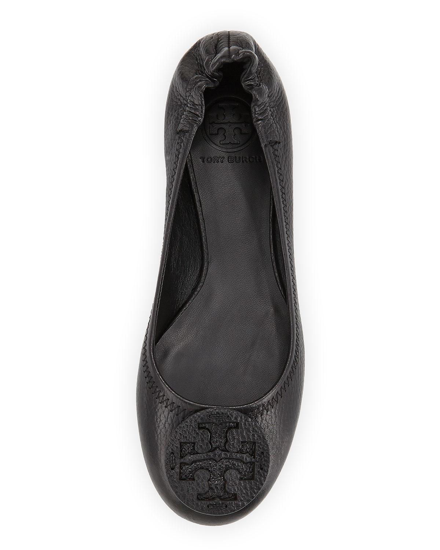 fa9e3bb3698744 Lyst - Tory Burch Reva Tumbled Leather Ballerina Flat Black in Black