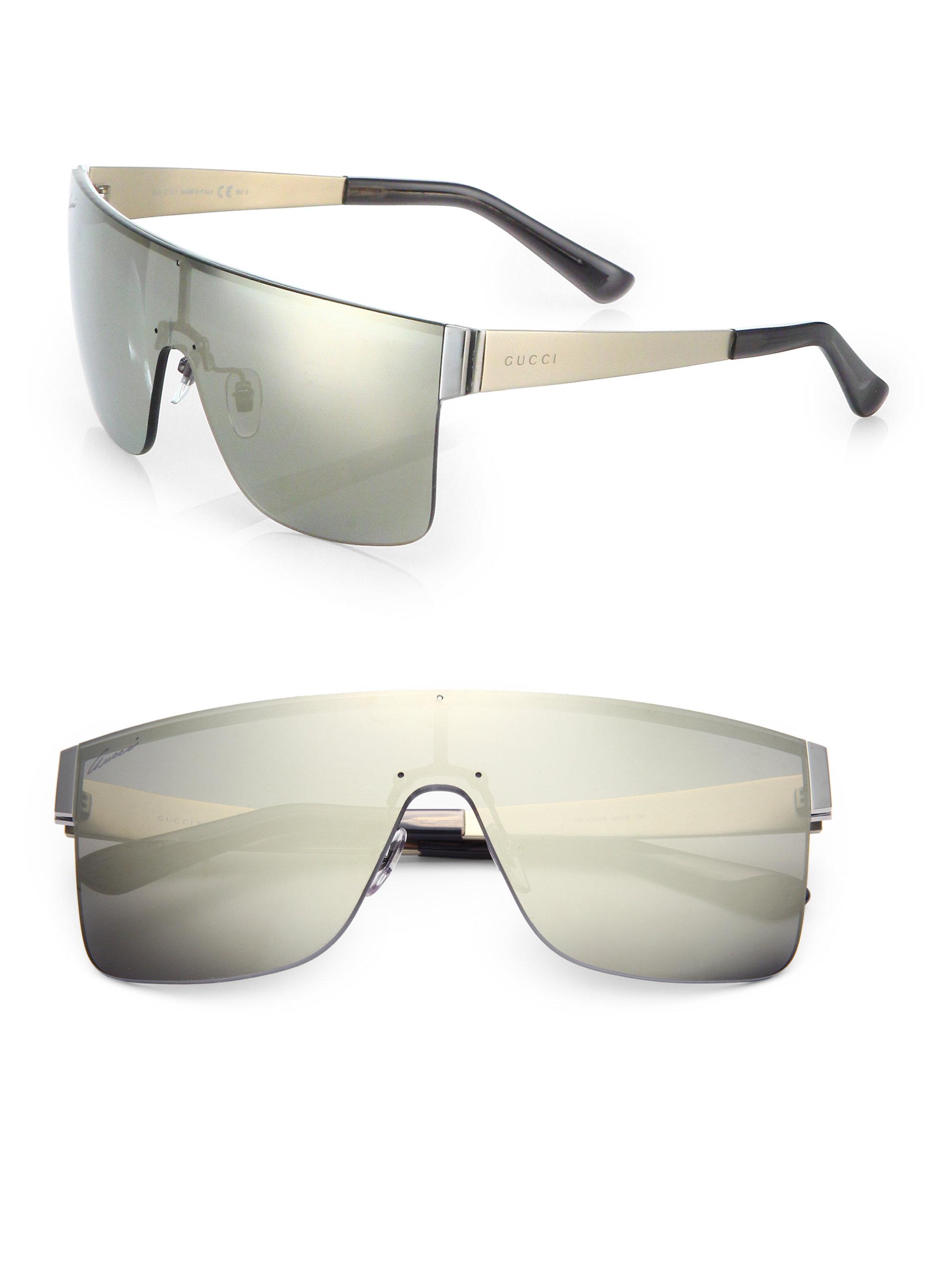 Gucci Rimless Shield 99mm Square Sunglasses in Gray for ...
