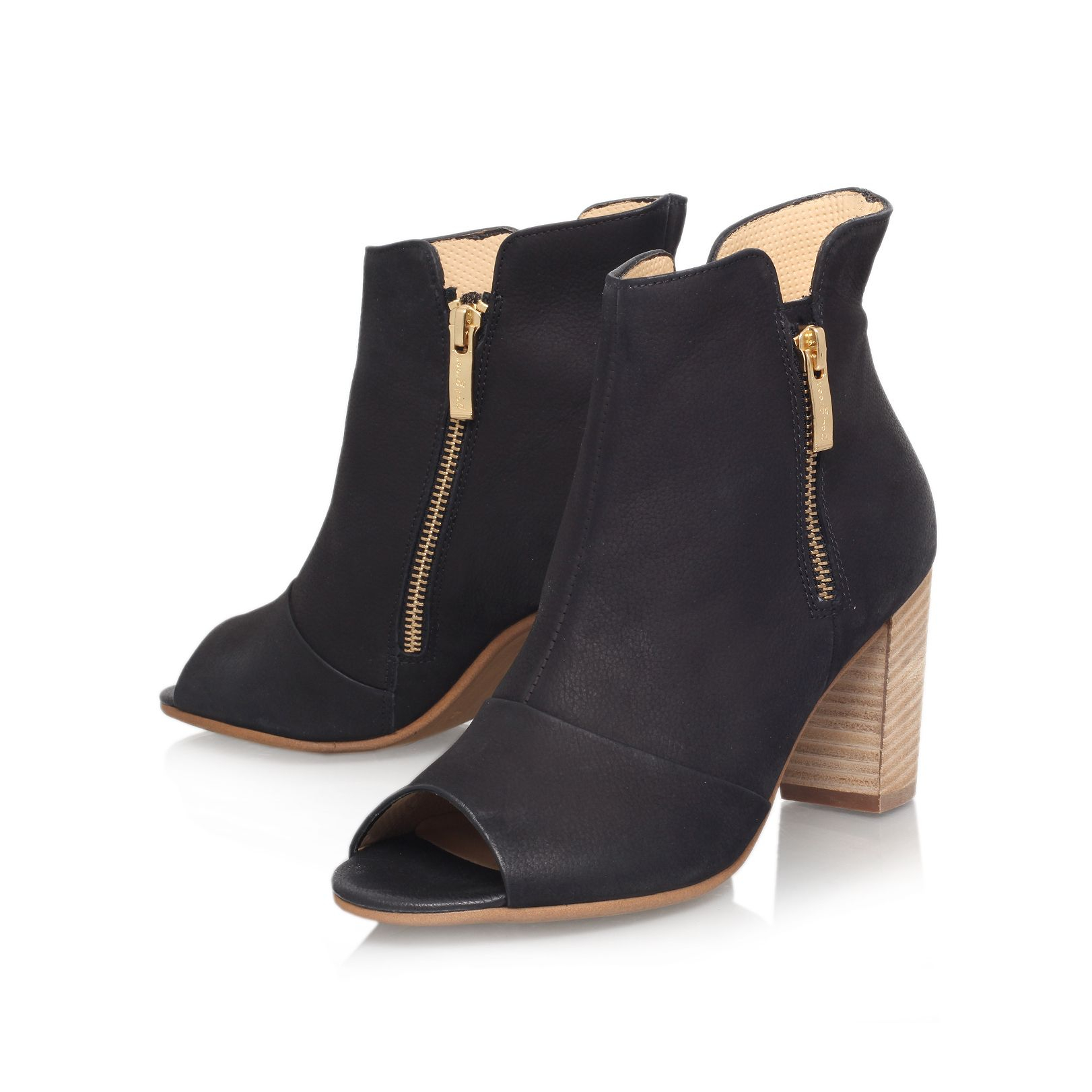 Paul green Annie Mid Heel Peep Toe Ankle Boots in Brown | Lyst