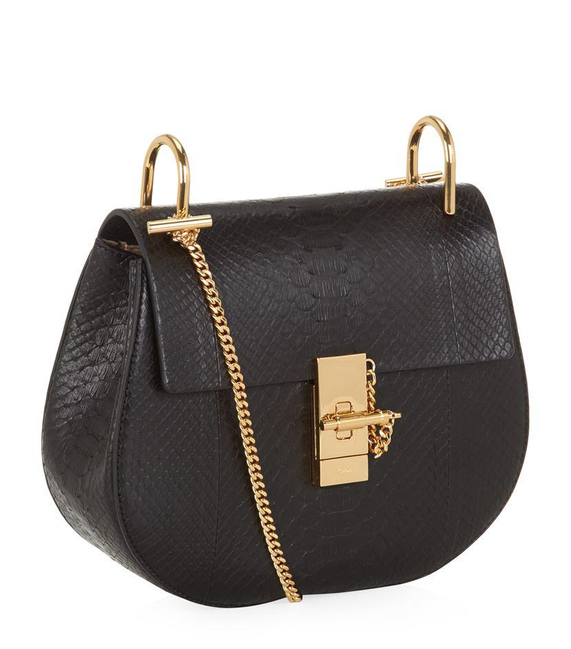 chlo drew small python shoulder bag in black lyst. Black Bedroom Furniture Sets. Home Design Ideas